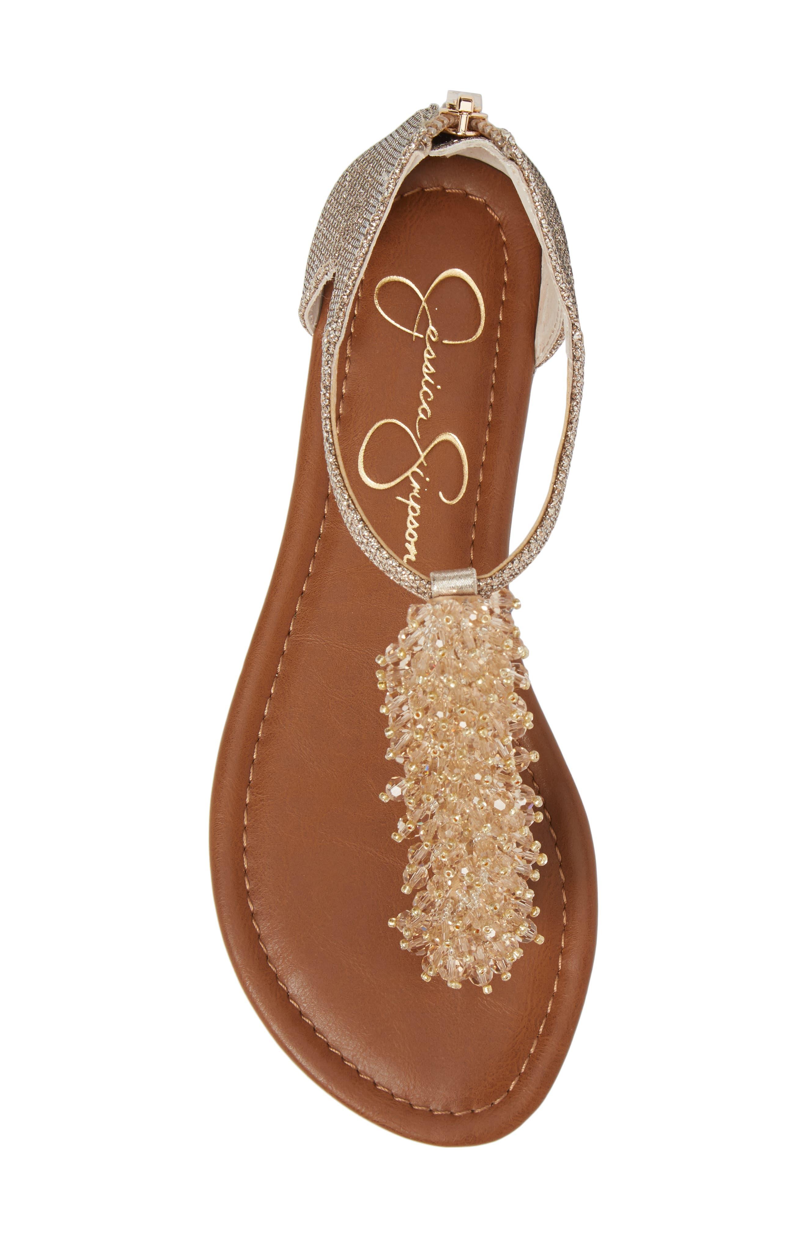 Kenton Crystal Embellished Sandal,                             Alternate thumbnail 5, color,                             Gold