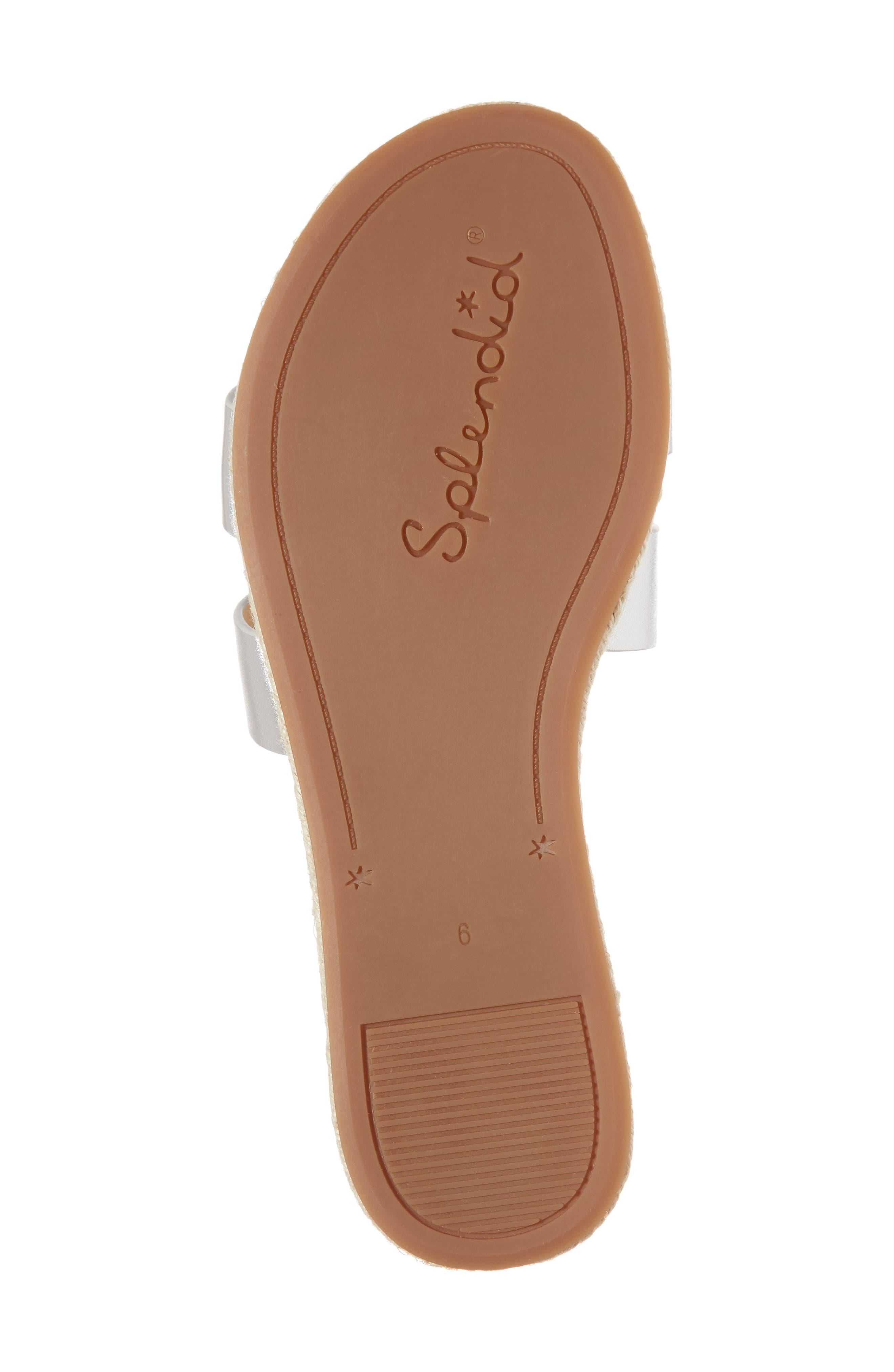 Brittani Slide Sandal,                             Alternate thumbnail 6, color,                             Silver Metallic Leather