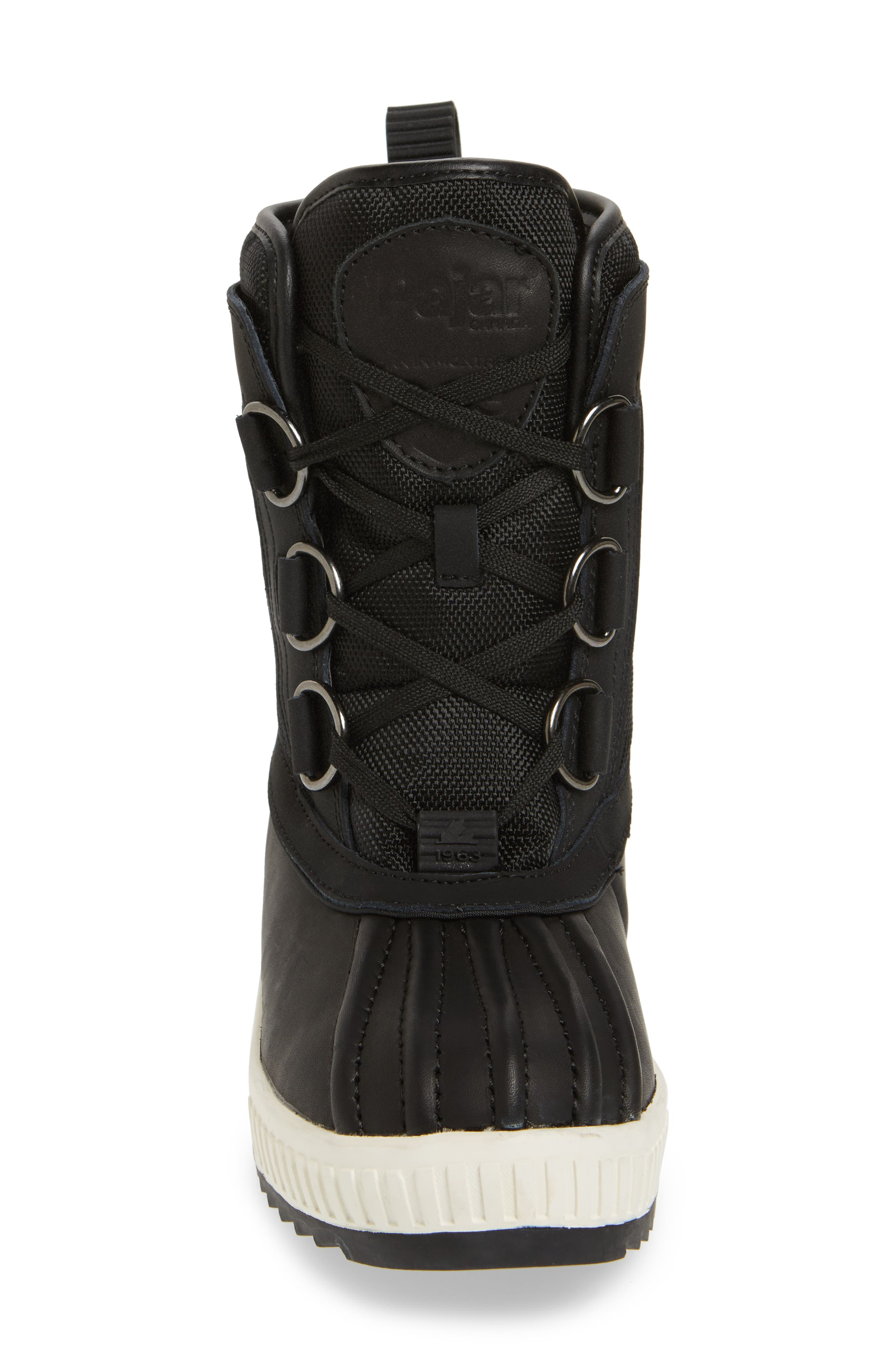 Kai Waterproof Insulated Winter Duck Boot,                             Alternate thumbnail 4, color,                             Black/ Black Leather