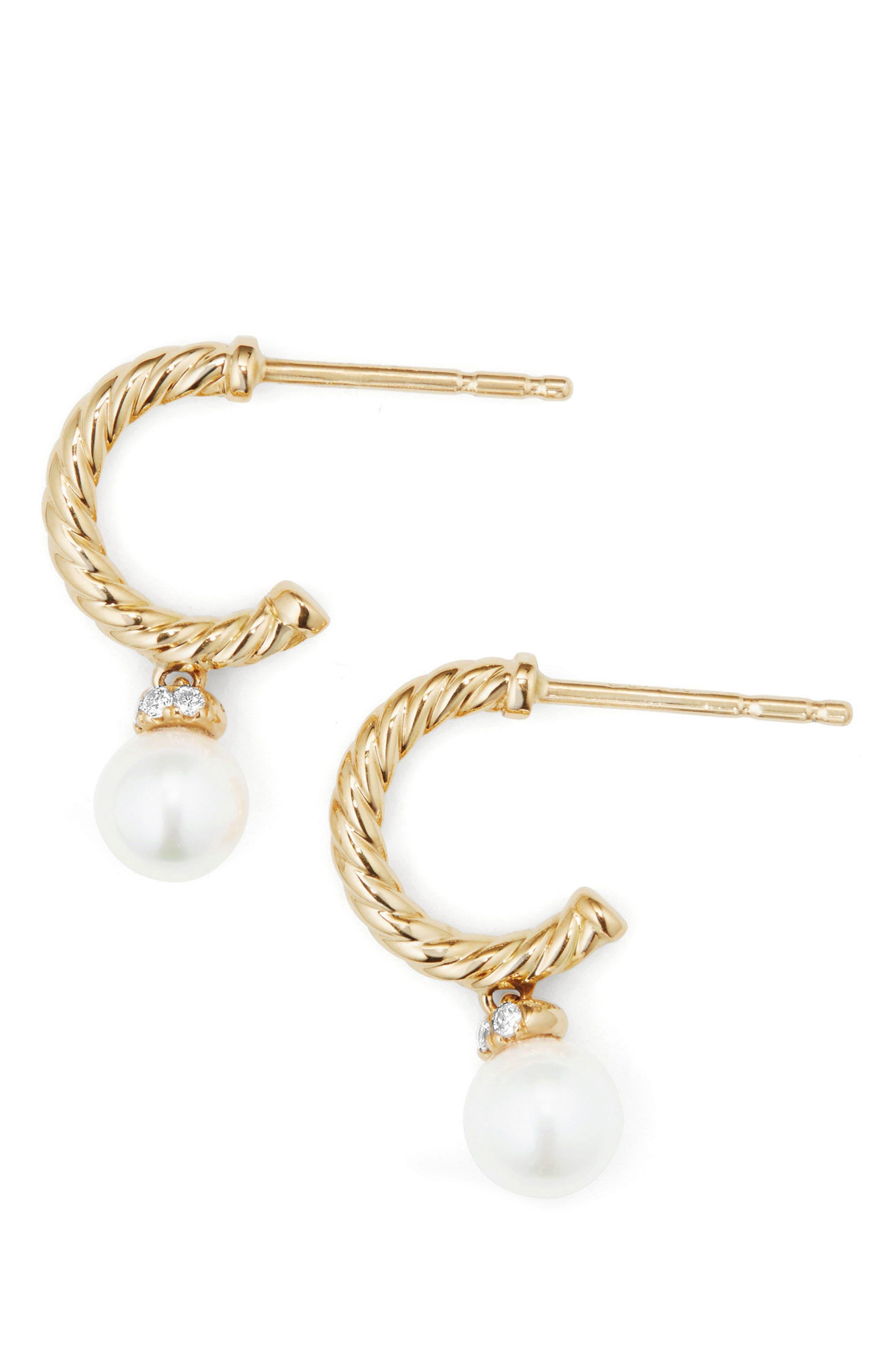 David Yurman Solari Hoop Earrings with Diamonds & Pearls in 18K Gold
