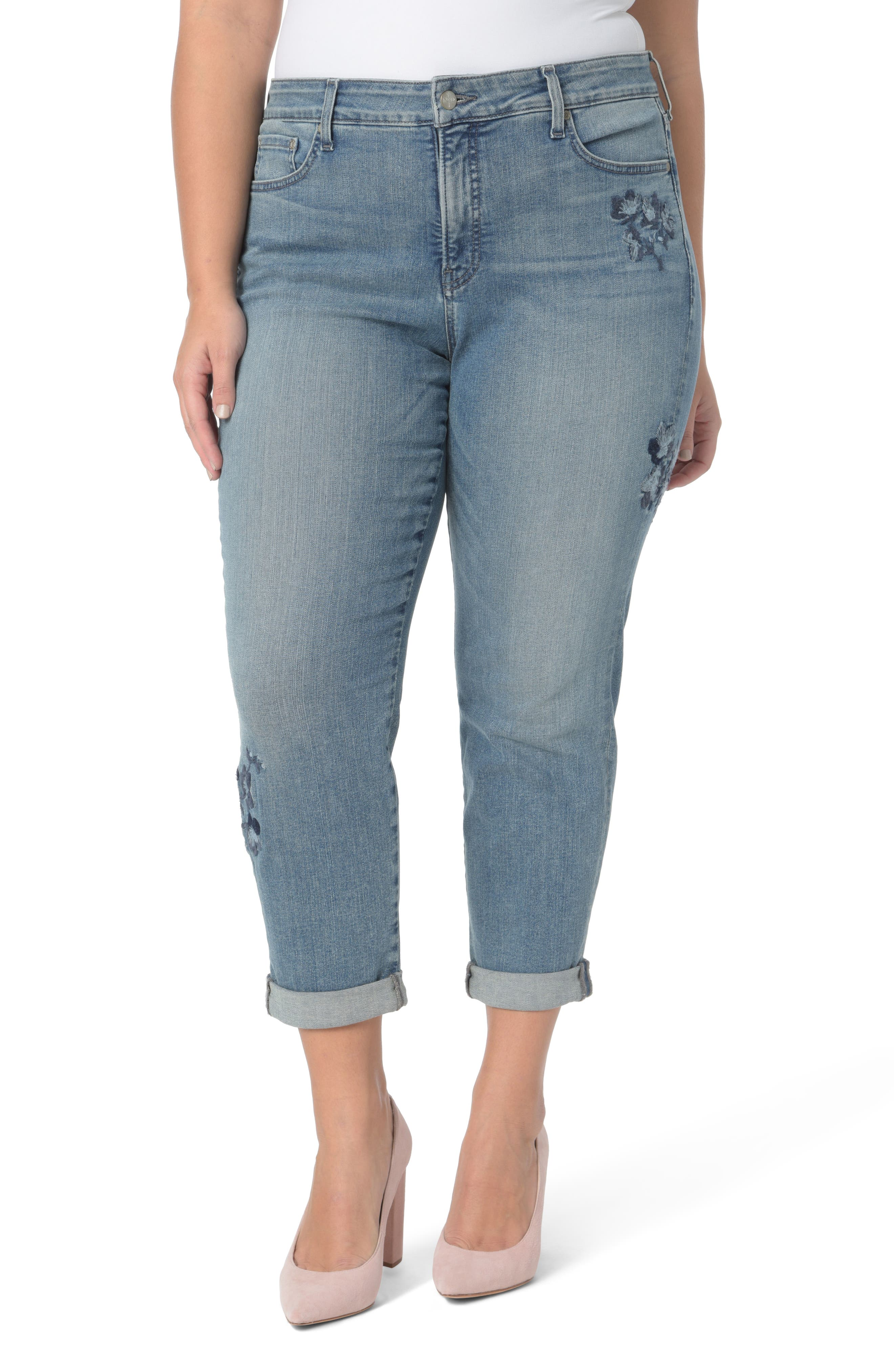 Alternate Image 1 Selected - NYDJ Floral Embroidery Boyfriend Jeans (Pacific) (Plus Size)