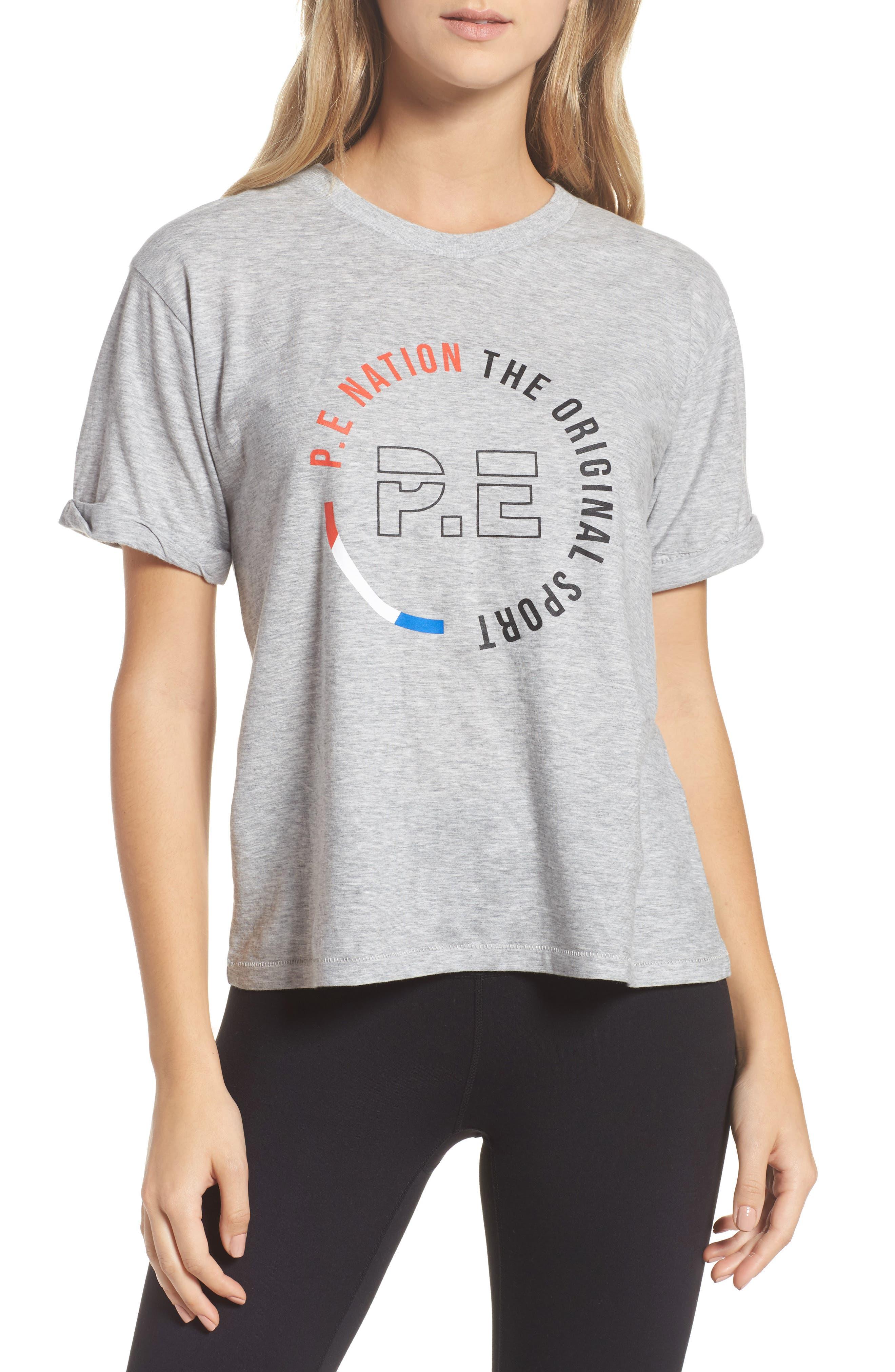 P.E. Nation Jump Off Tee,                         Main,                         color, Grey Marl