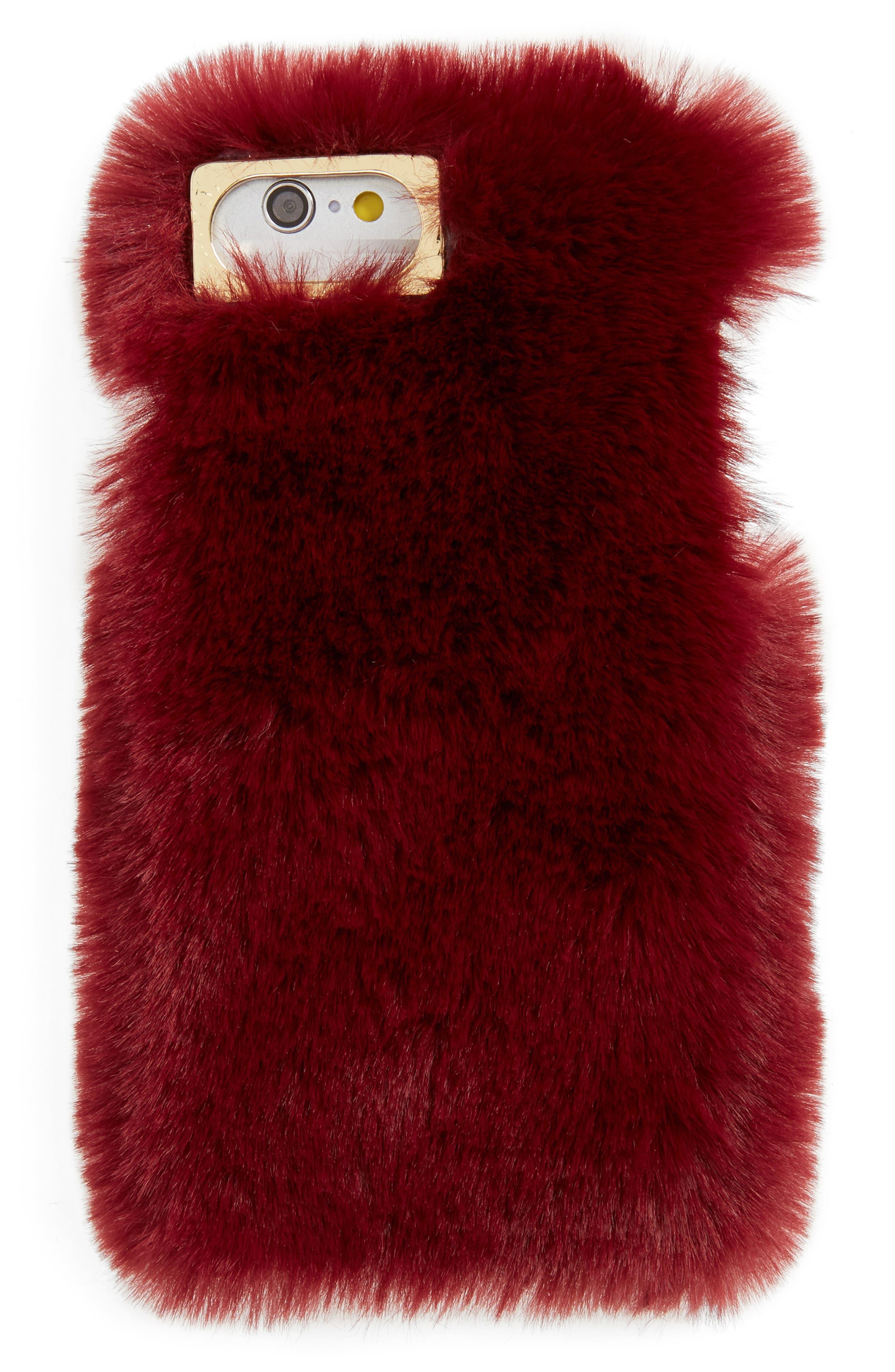 Faux Fur iPhone 6/6s/7 Case,                             Main thumbnail 1, color,                             Burgundy