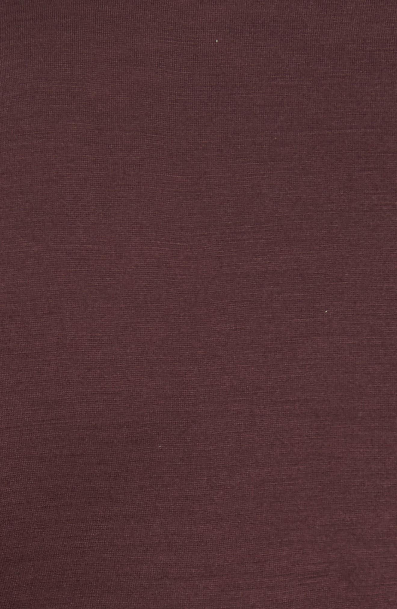 Mercerized Wool Long Sleeve T-Shirt,                             Alternate thumbnail 5, color,                             Hematite Red