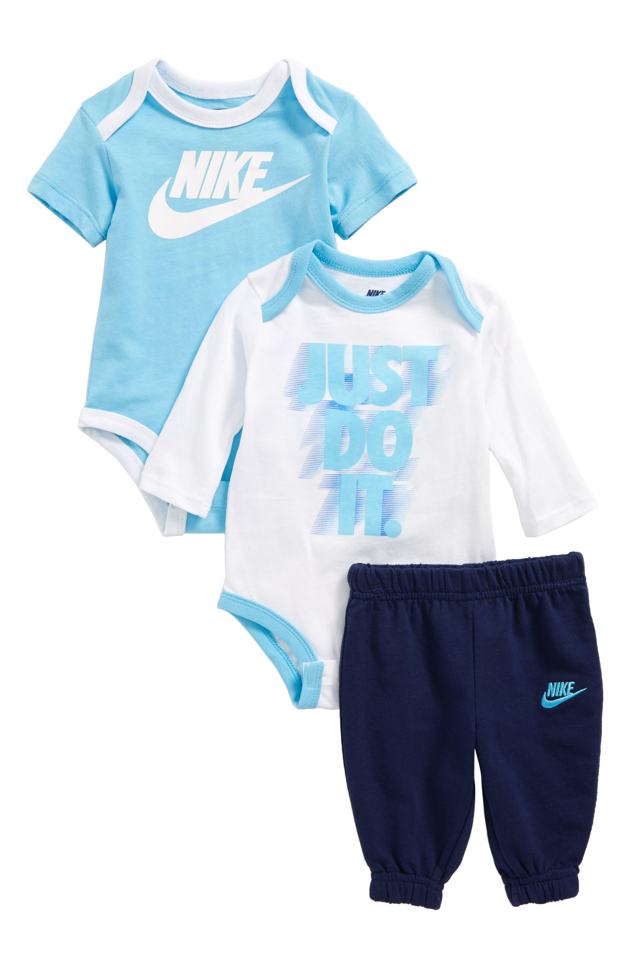 Main Image - Nike 3-Piece Bodysuit & Jogger Pants Set (Baby Boys)