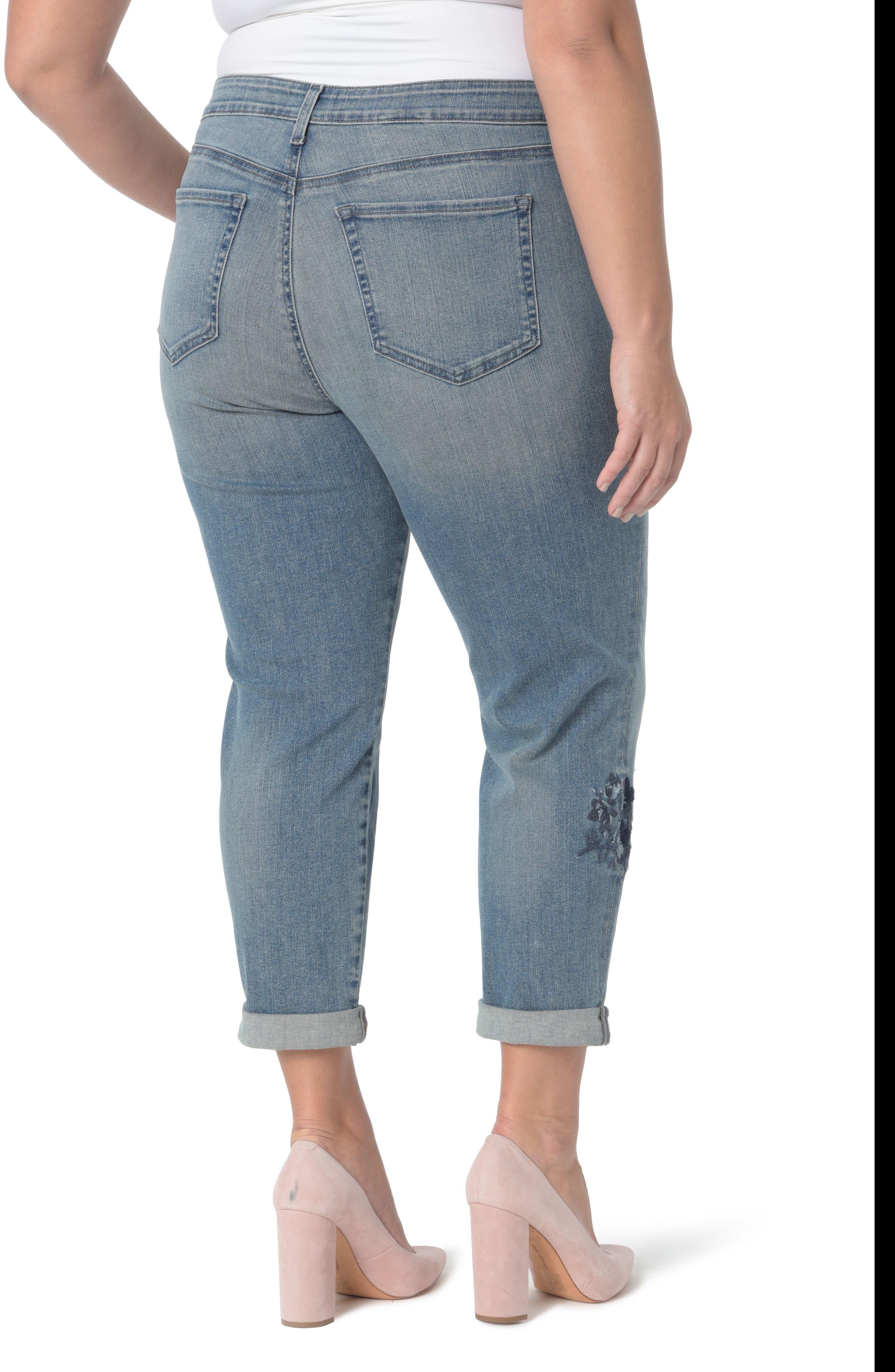 Alternate Image 2  - NYDJ Floral Embroidery Boyfriend Jeans (Pacific) (Plus Size)