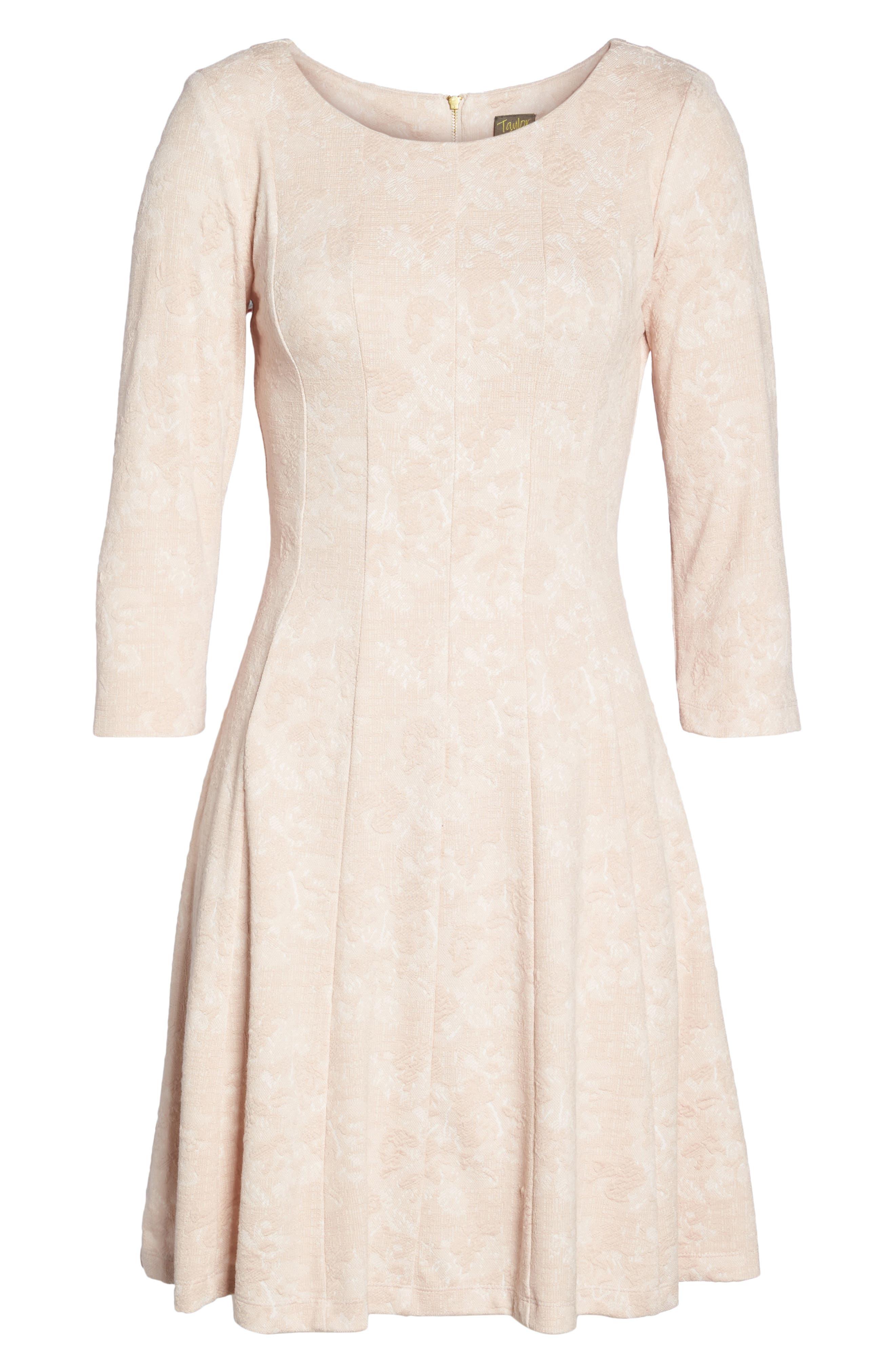 Jacquard Knit Fit & Flare Dress,                             Alternate thumbnail 5, color,                             Blush