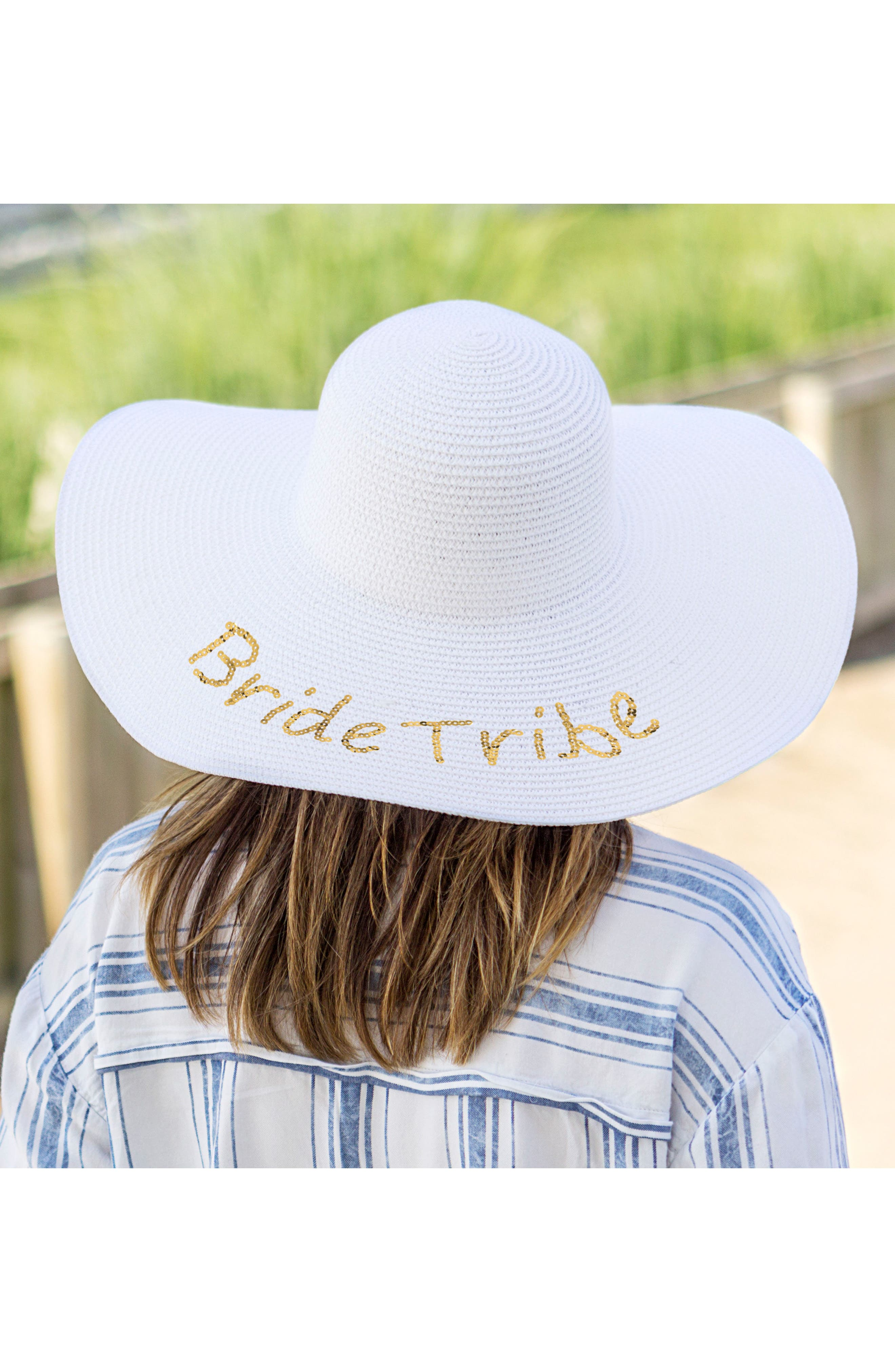 Sequin Bride Tribe Straw Hat,                             Alternate thumbnail 4, color,                             Gold