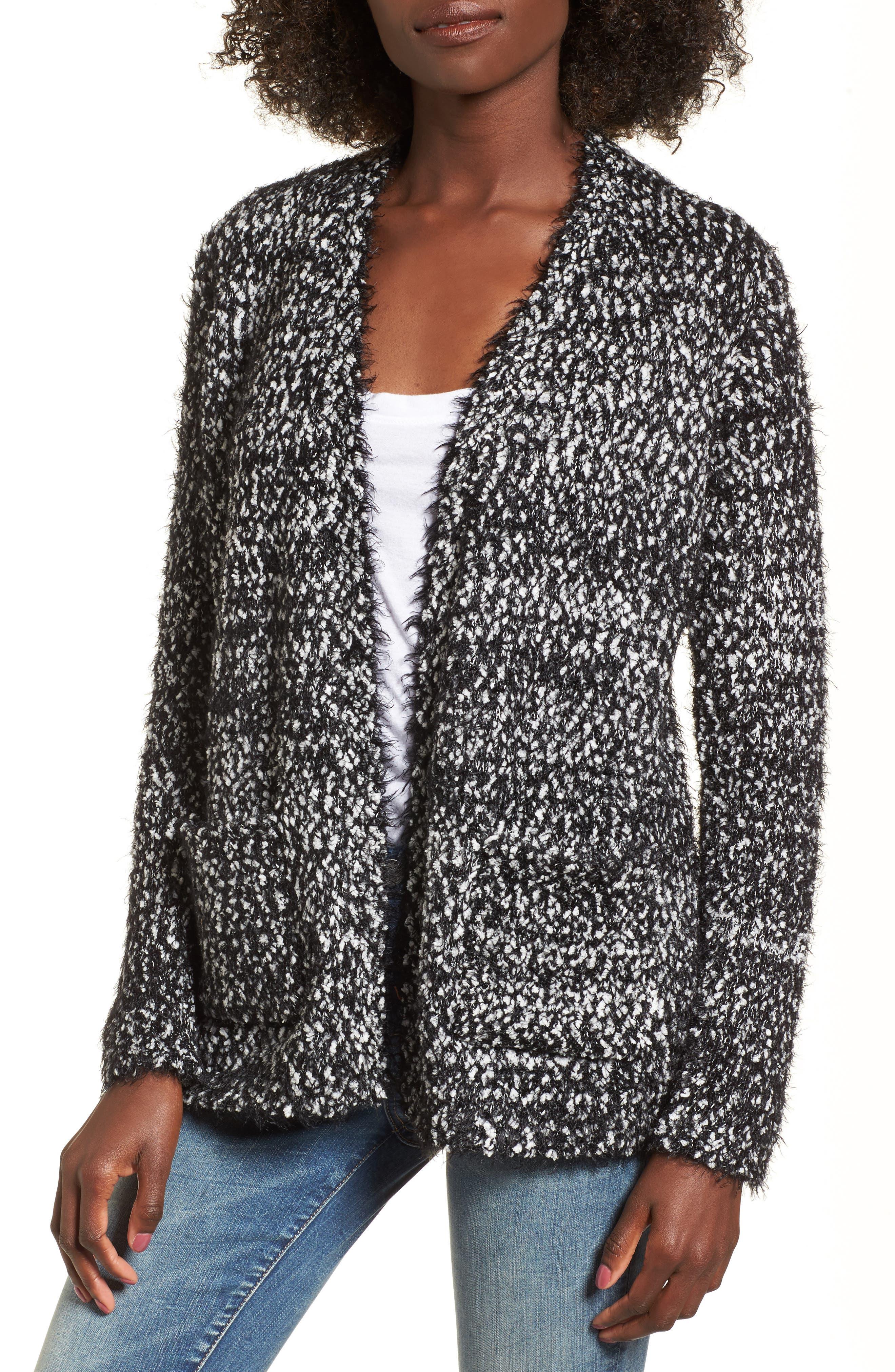 Eyelash Trim Cardigan,                         Main,                         color, Black/ White