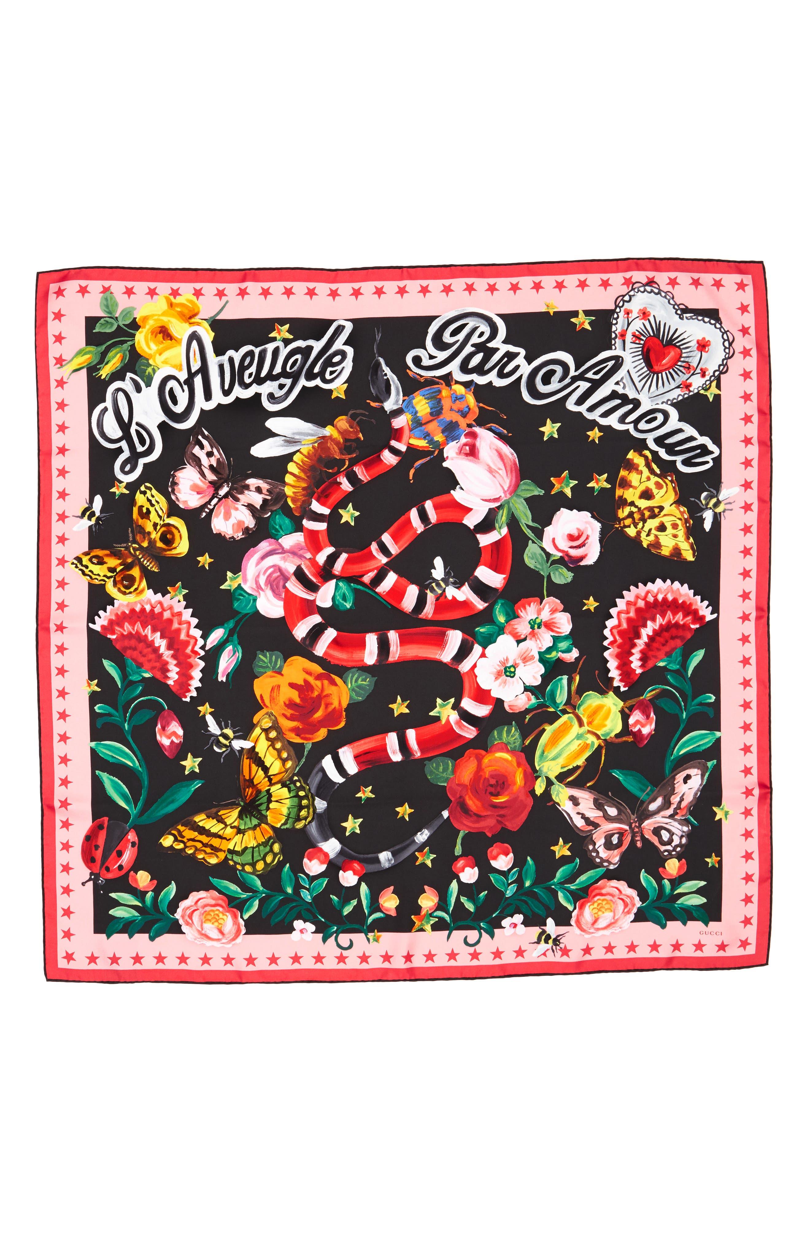 Foulard Jakam Silk Scarf,                         Main,                         color, Black/ Pink