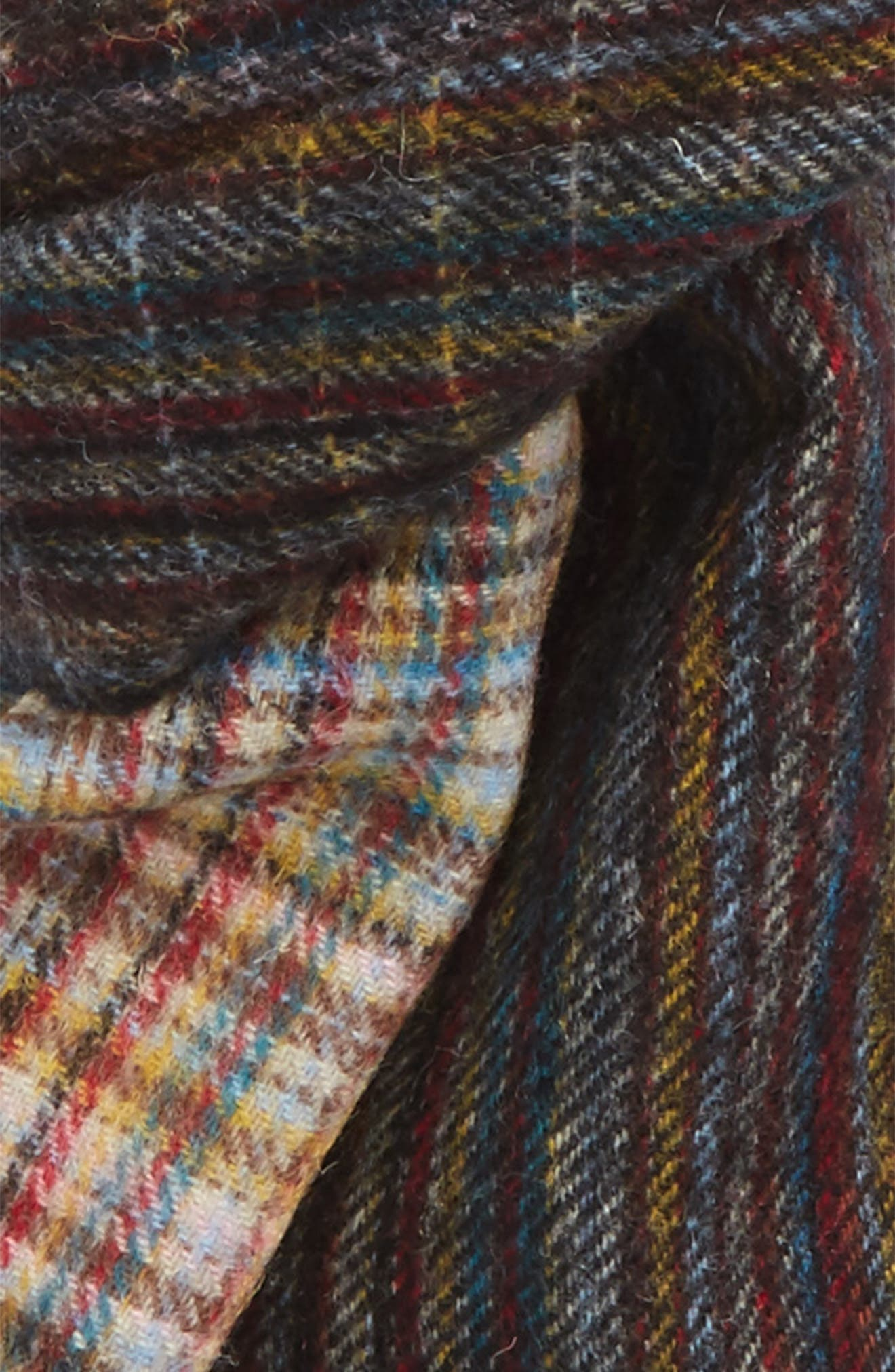 Multistripe Check Lambswool Scarf,                             Alternate thumbnail 3, color,                             Blue Multi