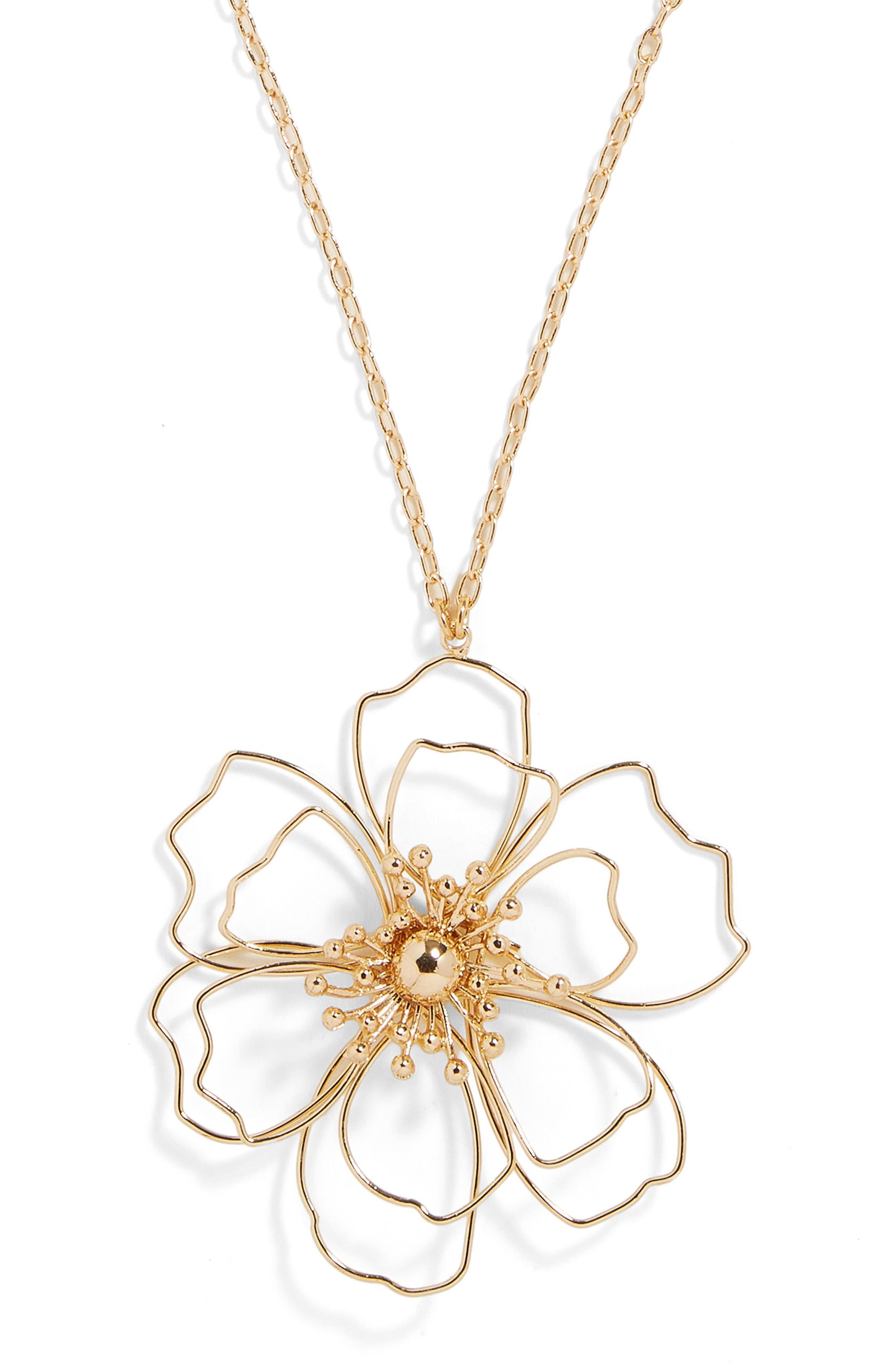 Blossom Pendant Necklace,                             Alternate thumbnail 2, color,                             Gold