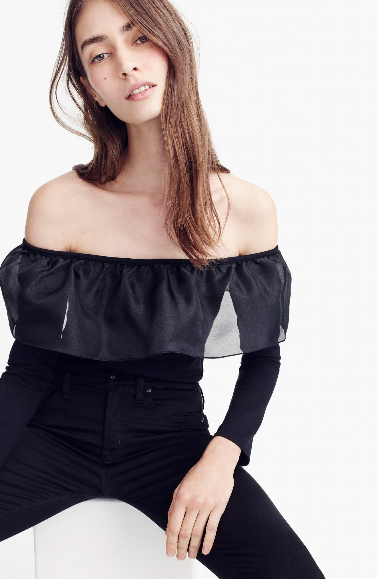 Alternate Image 2  - J.Crew Organza Ruffle Top