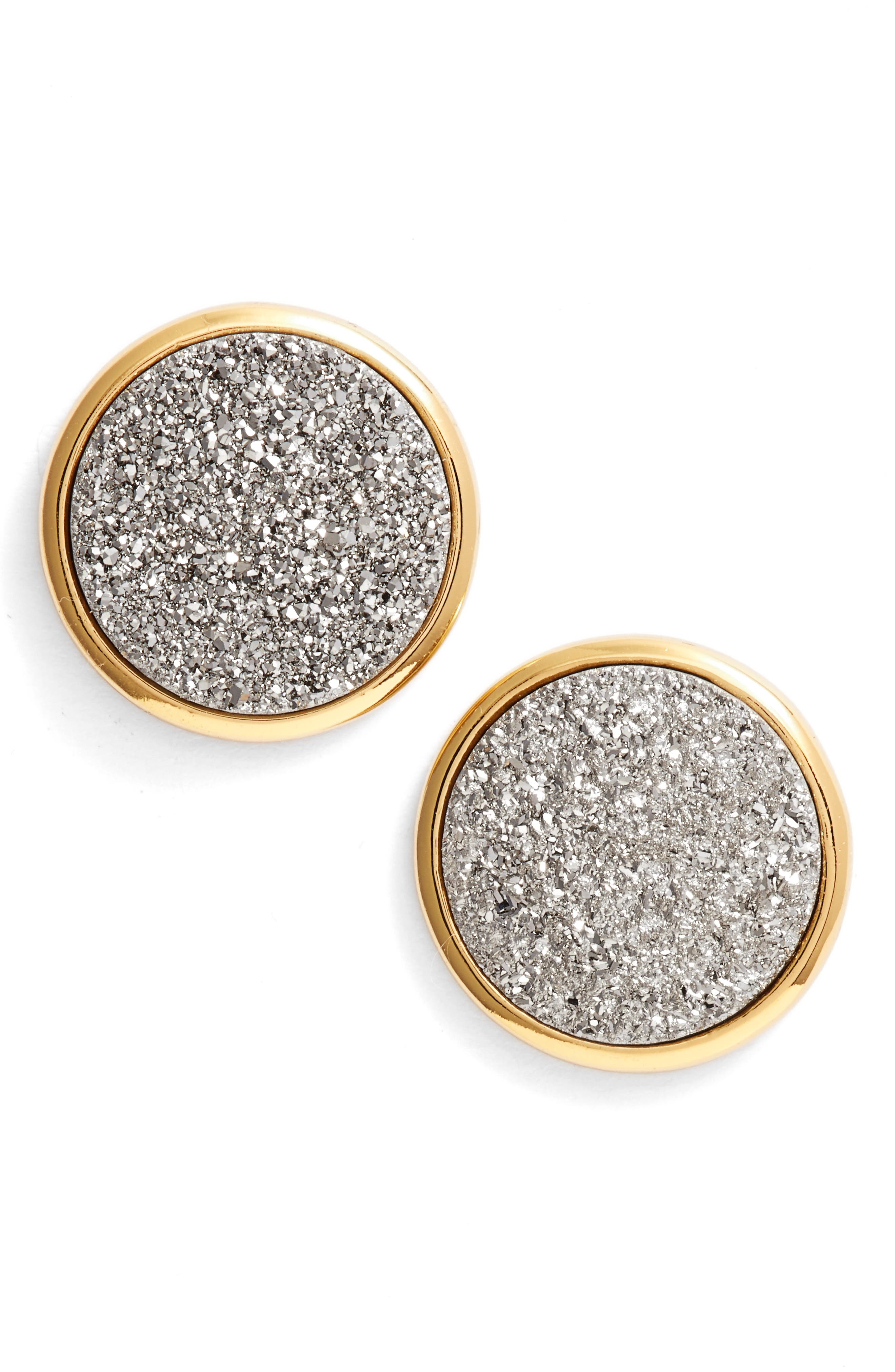 Astoria Large Drusy Stud Earrings,                             Main thumbnail 1, color,                             Silver Druzy/ Gold