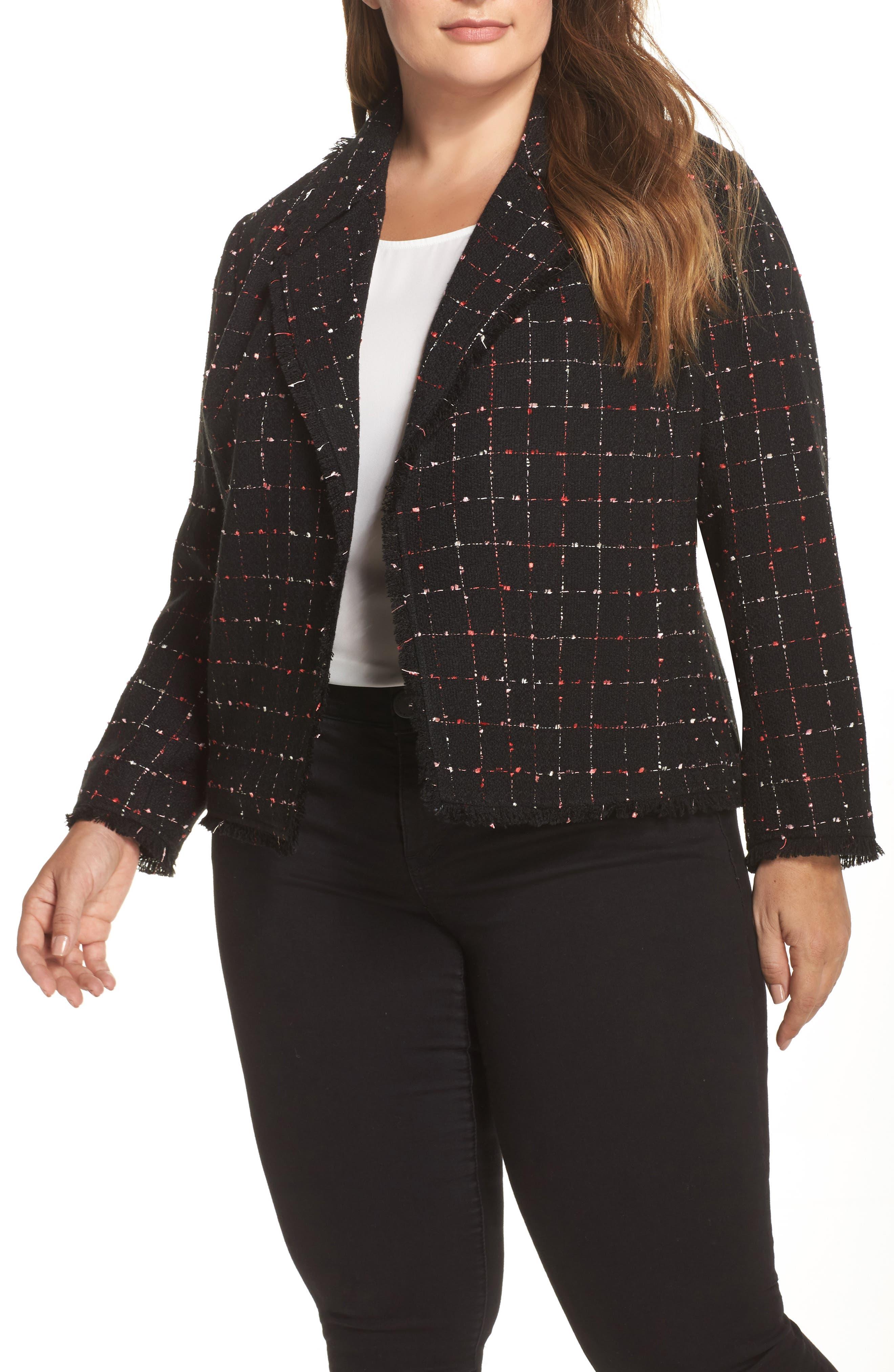 Spring Windowpane Tweed Jacket,                             Main thumbnail 1, color,                             Rich Black