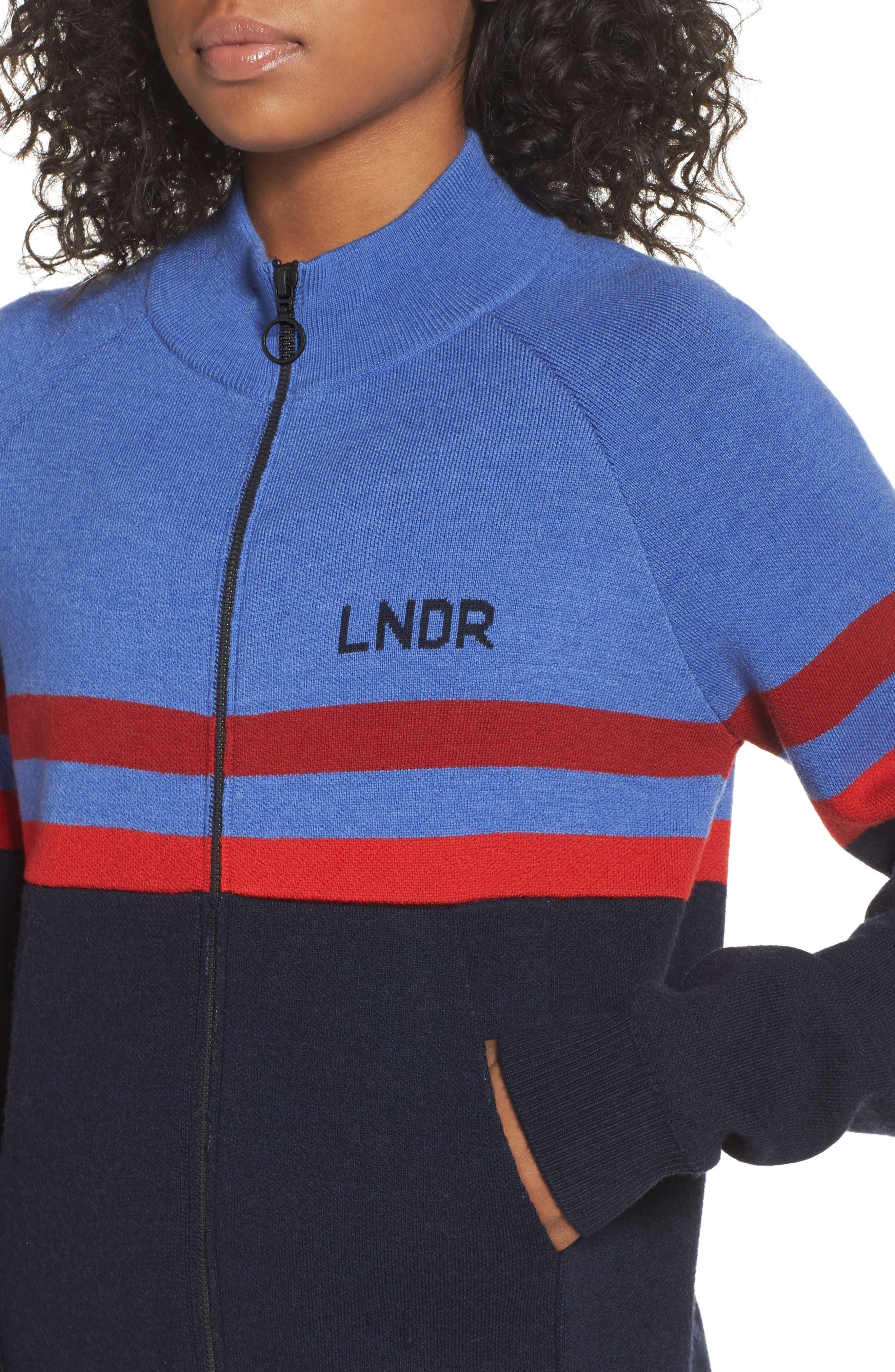 Merino Wool Zip Jacket,                             Alternate thumbnail 4, color,                             Sky Blue