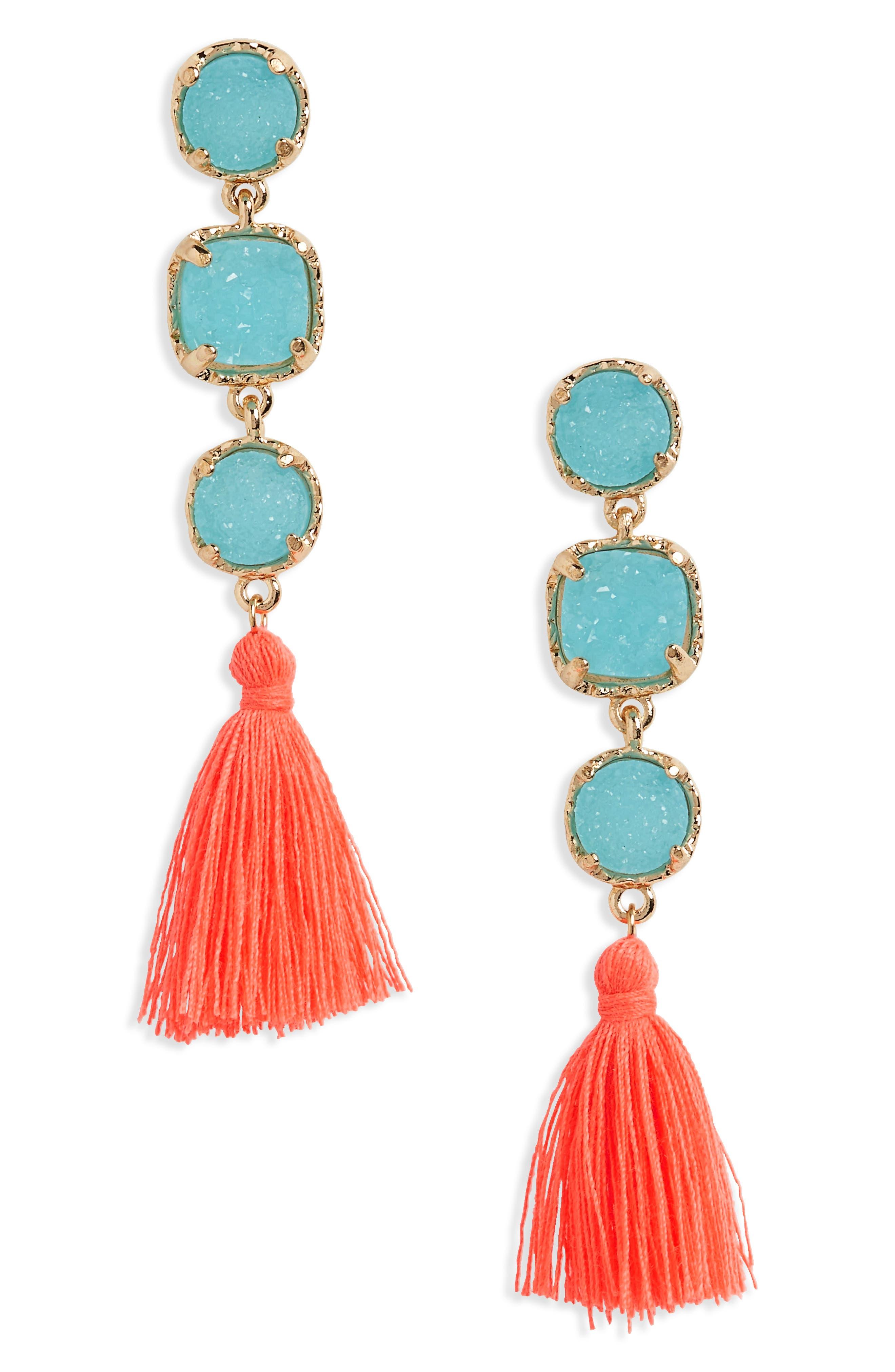 Drusy Tassel Earrings,                         Main,                         color, Turq