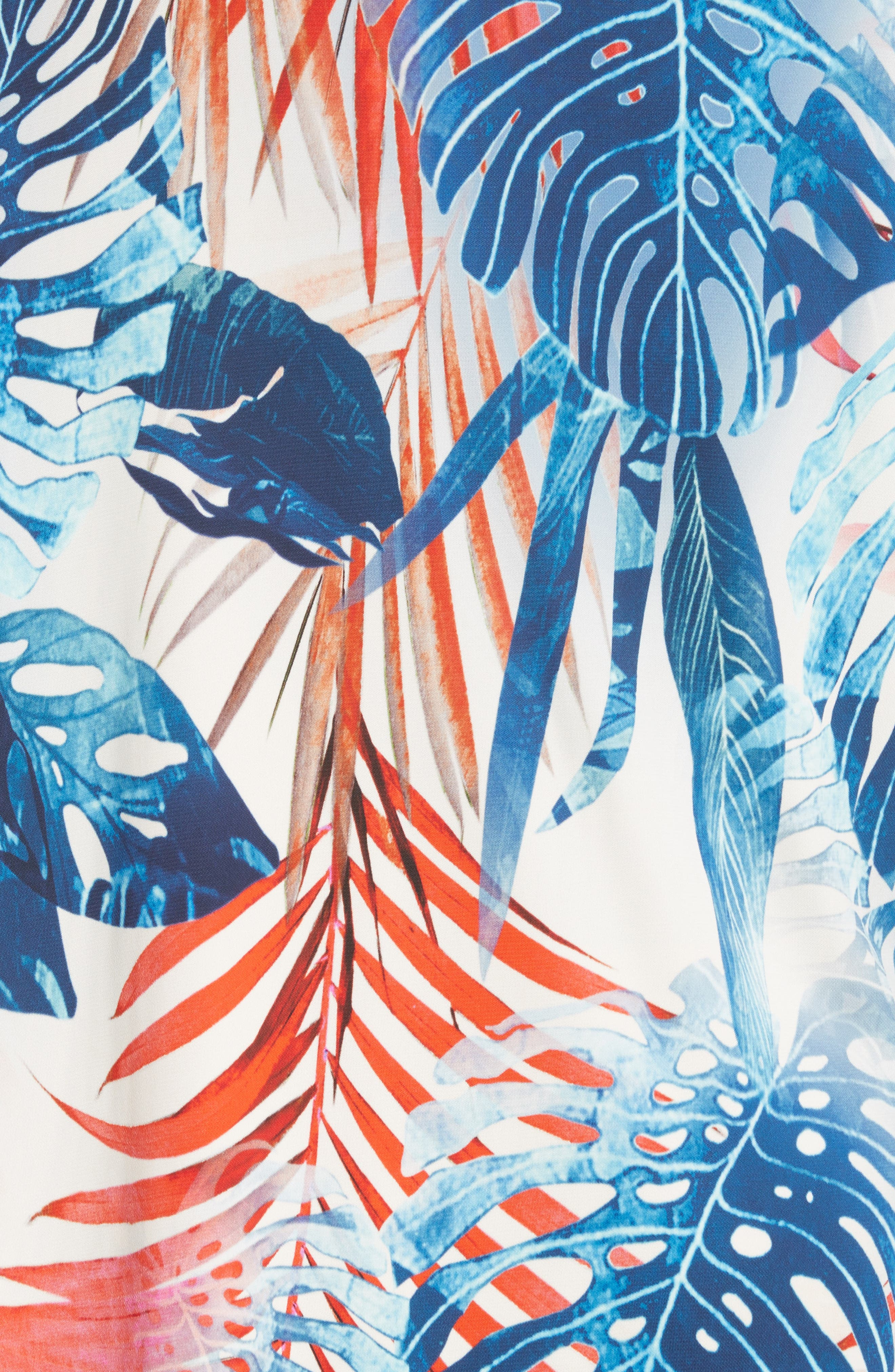 Foliage Print Asymmetrical Short Sleeve Shift Dress,                             Alternate thumbnail 6, color,                             Zaffiro