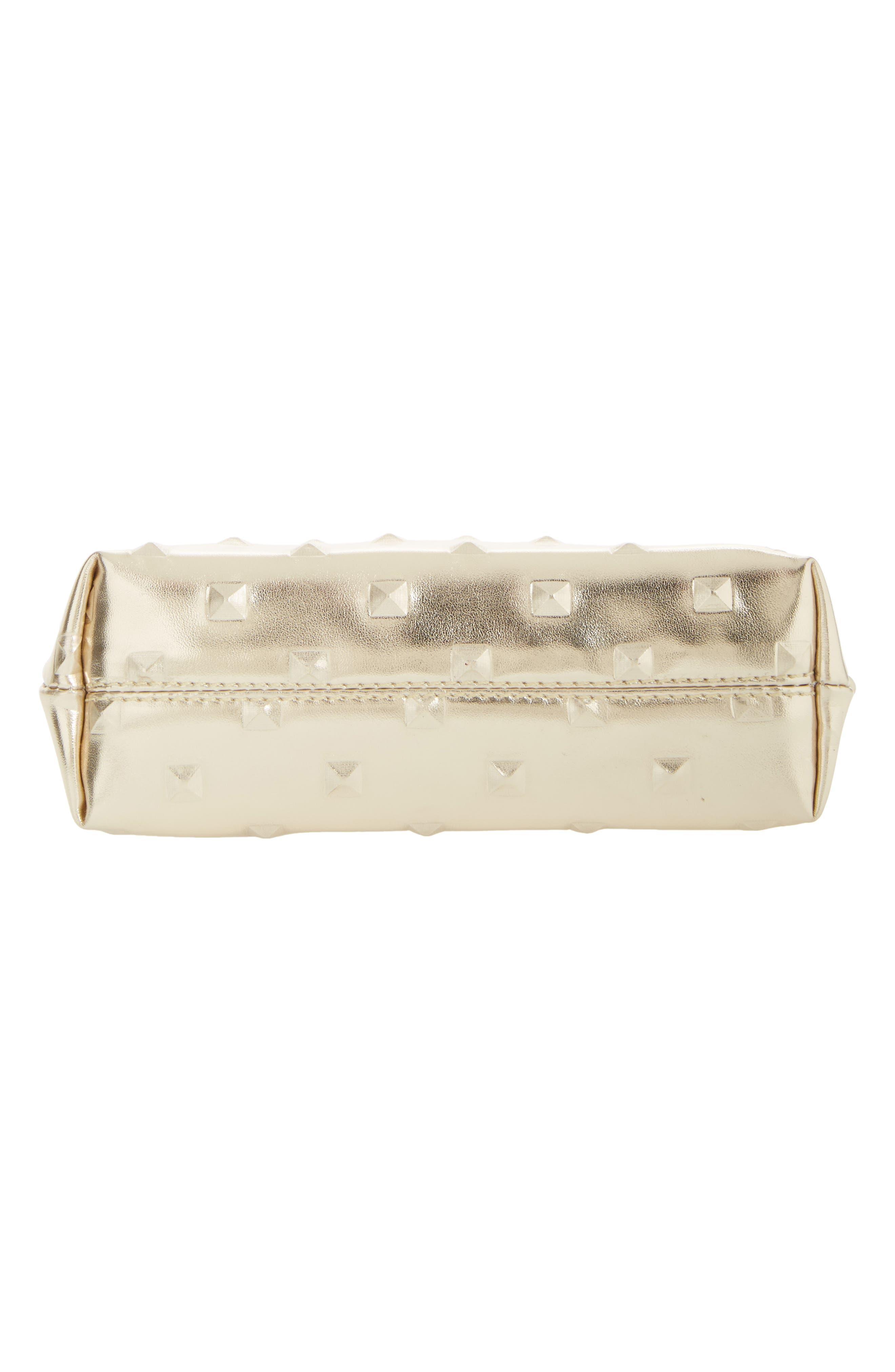 Diamond Embossed Metallic Cosmetics Bag,                             Alternate thumbnail 5, color,                             Gold