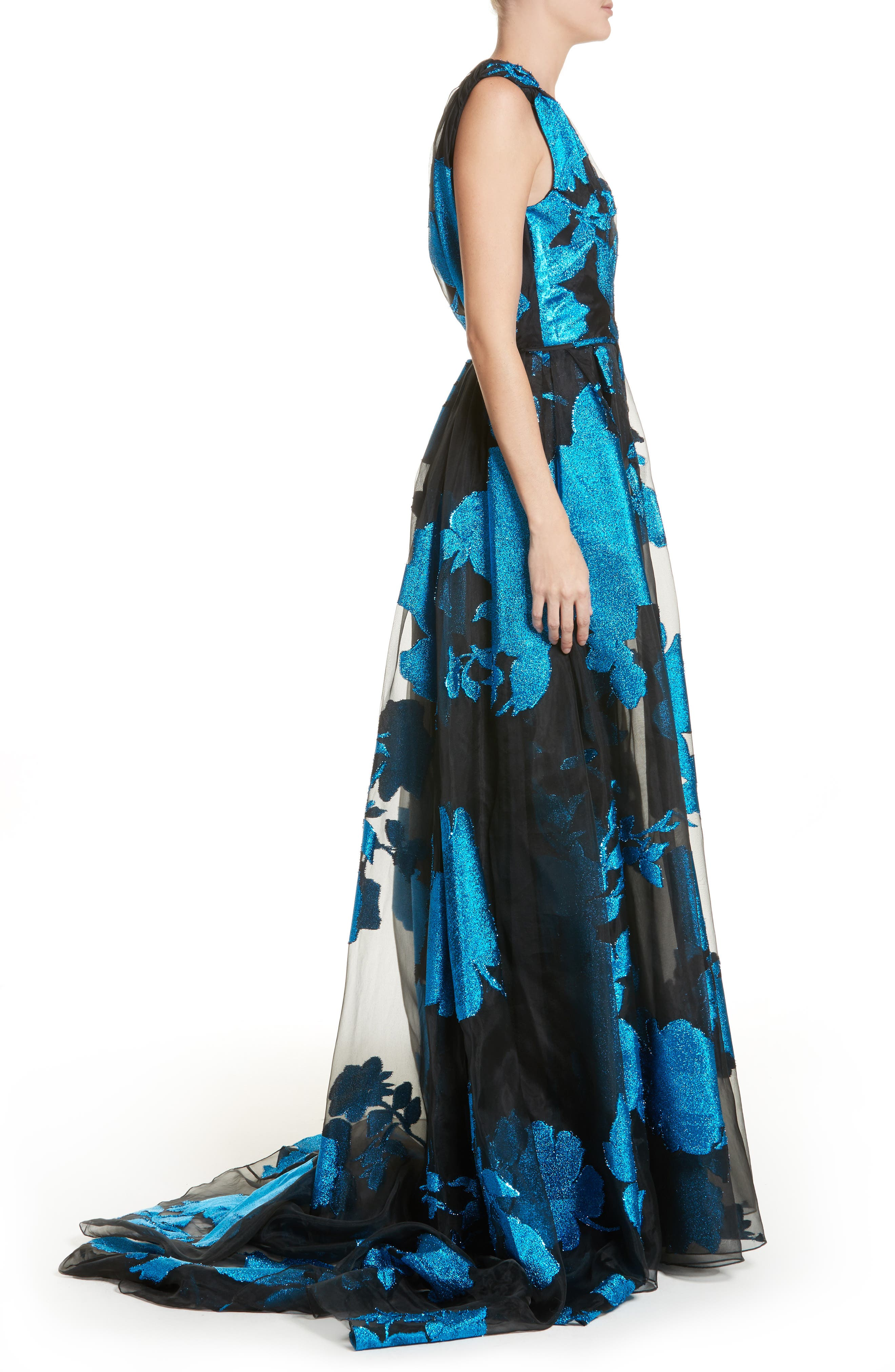 Metallic Floral Chiffon Gown,                             Alternate thumbnail 4, color,                             Cerulean/ Black