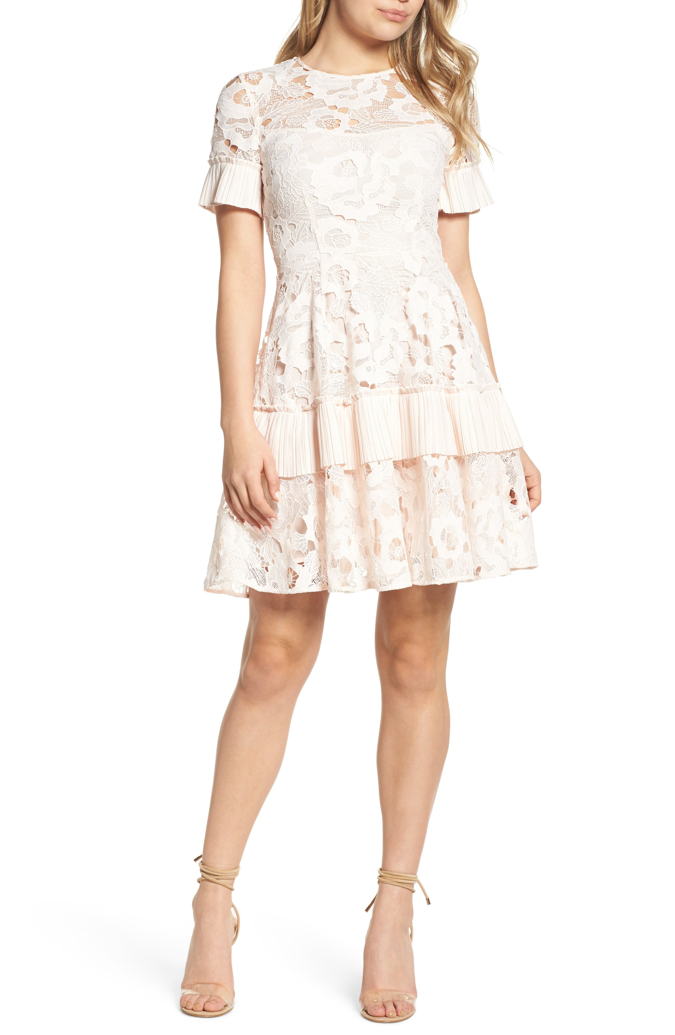 Enchantment Lace Fit & Flare Dress,                         Main,                         color, Shell