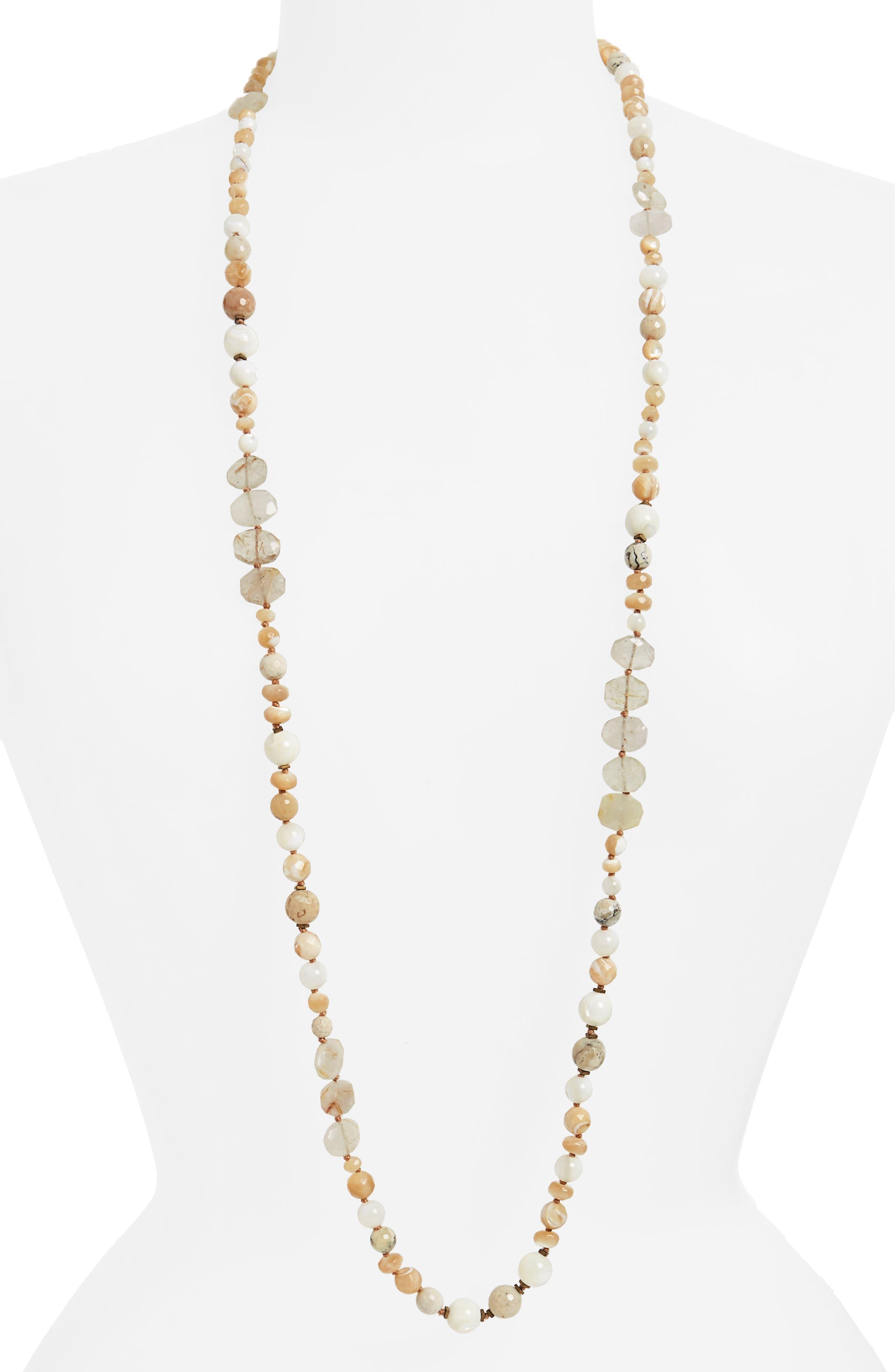 Semiprecious Stone Strand Necklace,                         Main,                         color, White