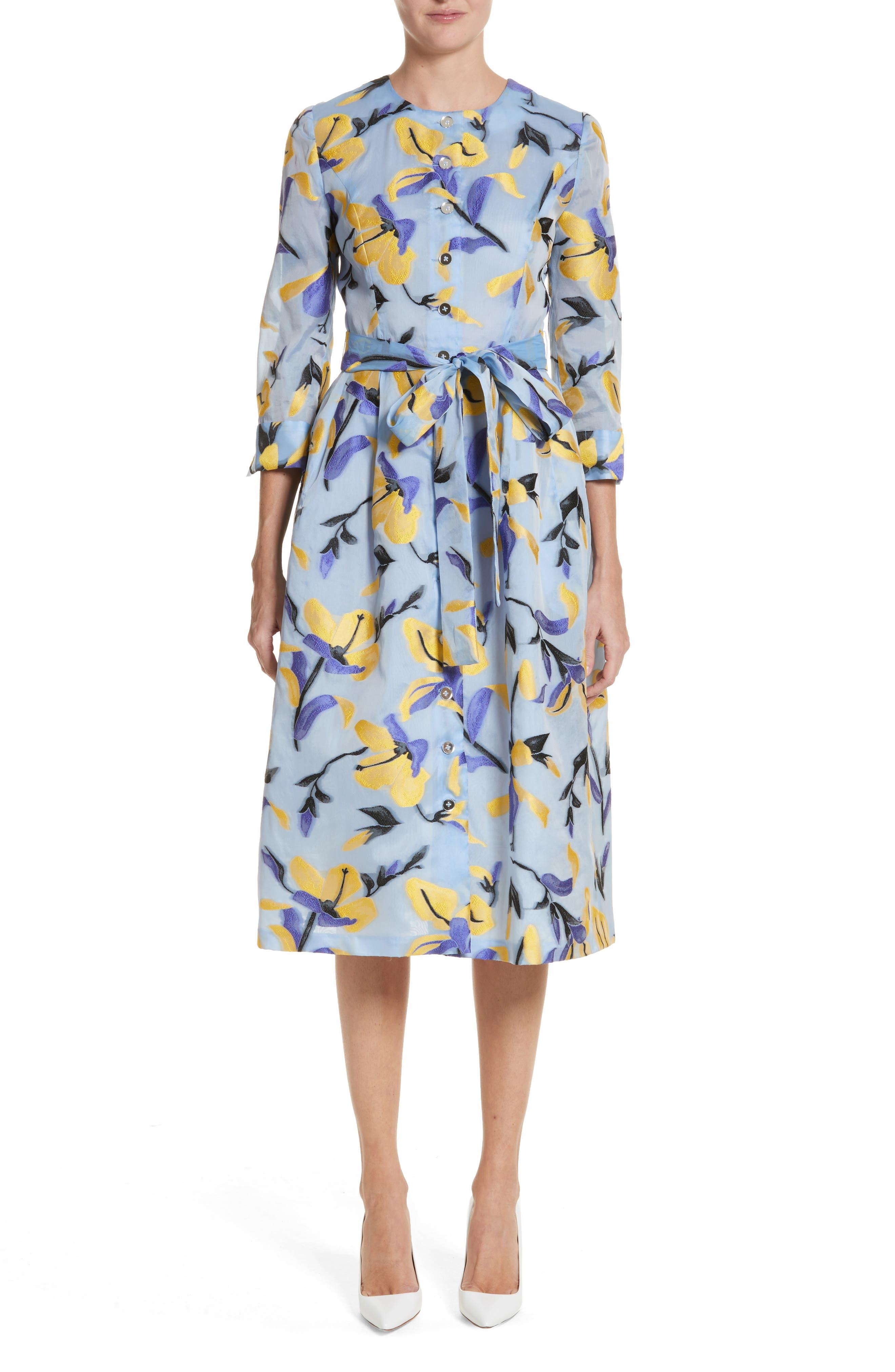 Iris Jacquard Organza Shirtdress,                             Main thumbnail 1, color,                             Cornflower Multi