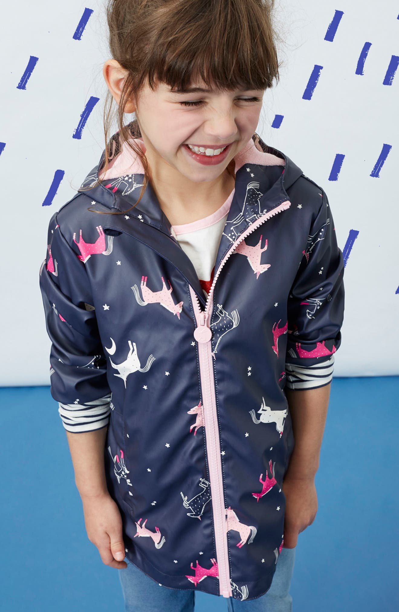 Alternate Image 3  - Joules Fleece Lined Rain Jacket (Toddler Girls & Little Girls)