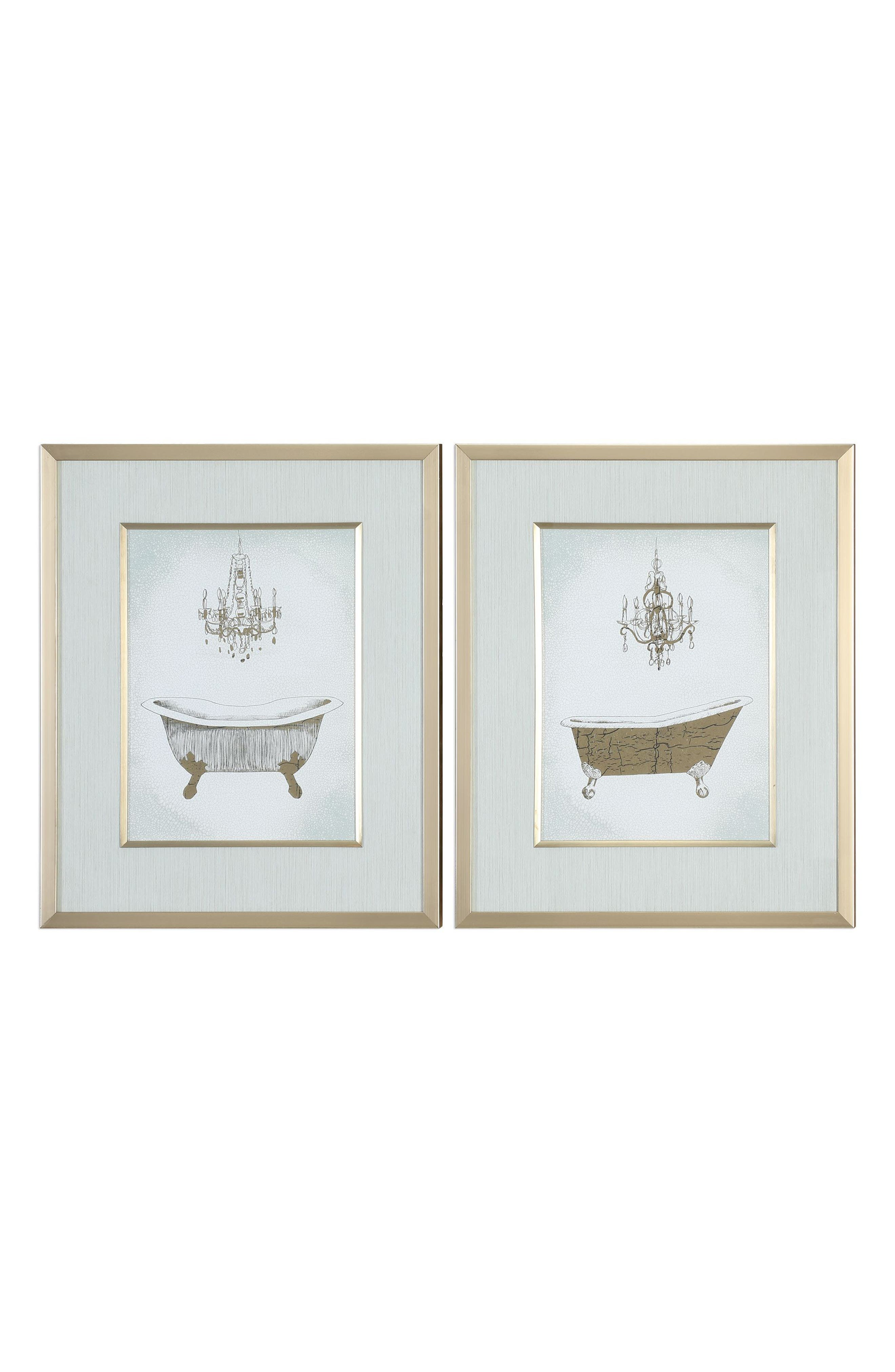Gilded Bath Set of 2 Art Prints,                         Main,                         color, Green