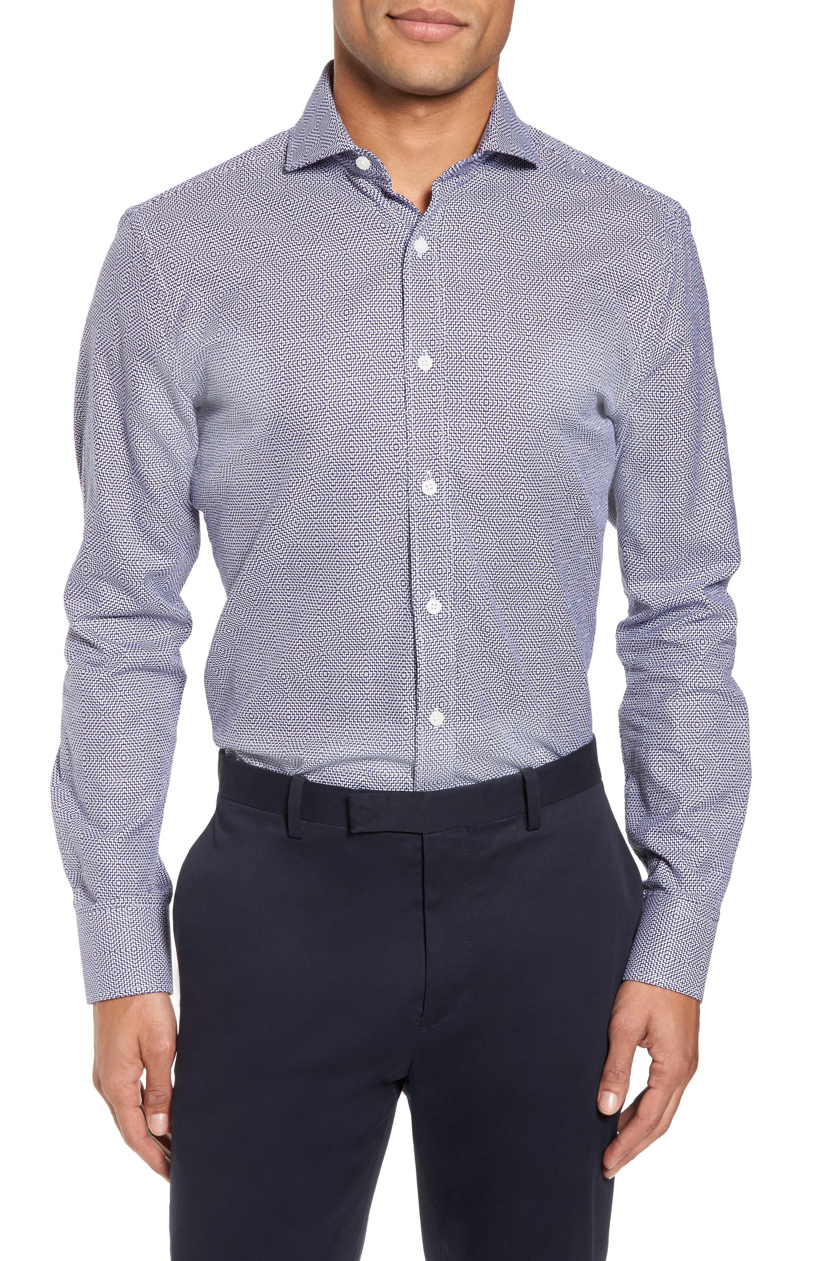 Duchamp Trim Fit Geometric Dress Shirt
