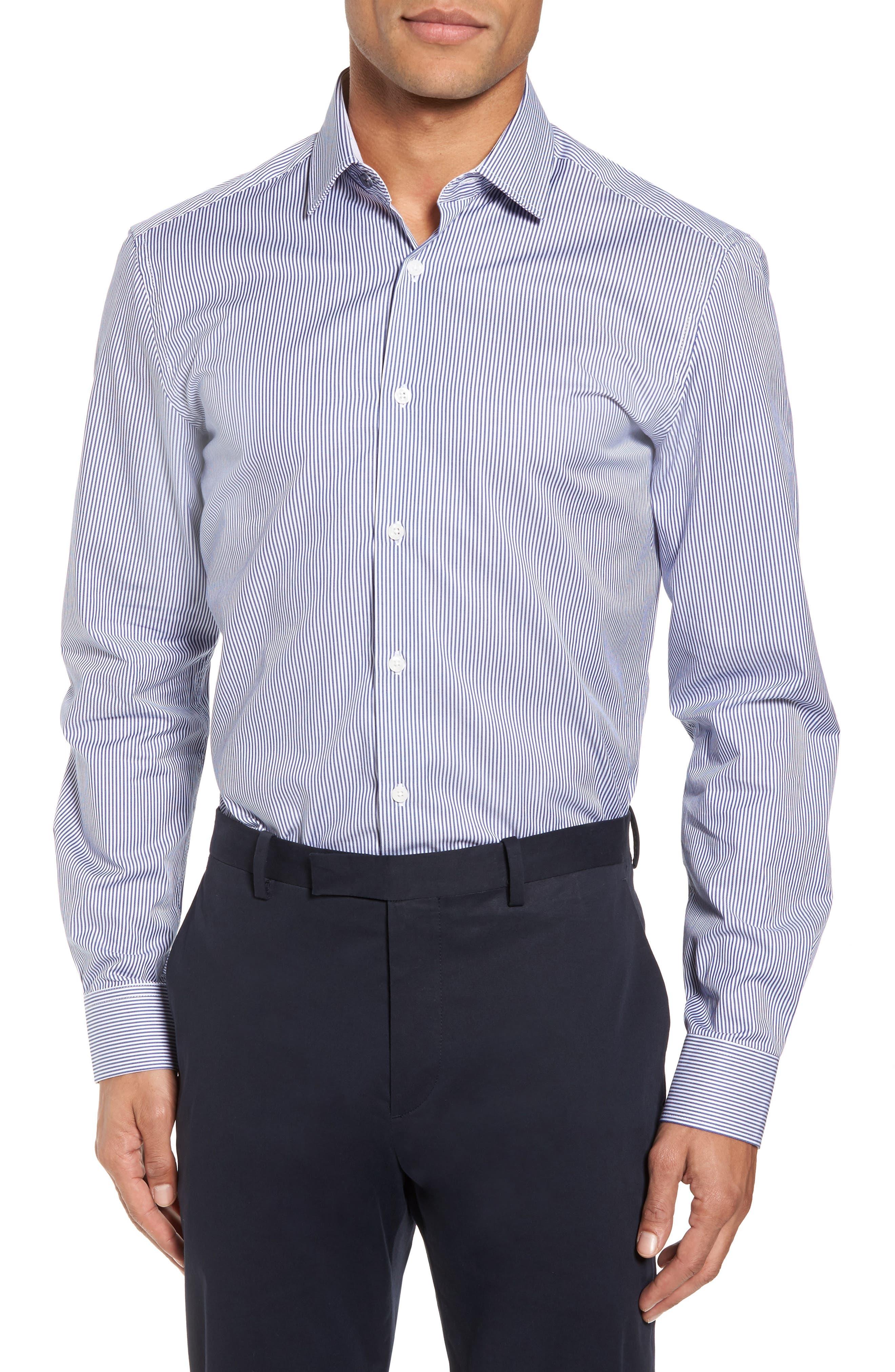 Trim Fit Stripe Dress Shirt,                         Main,                         color, Navy