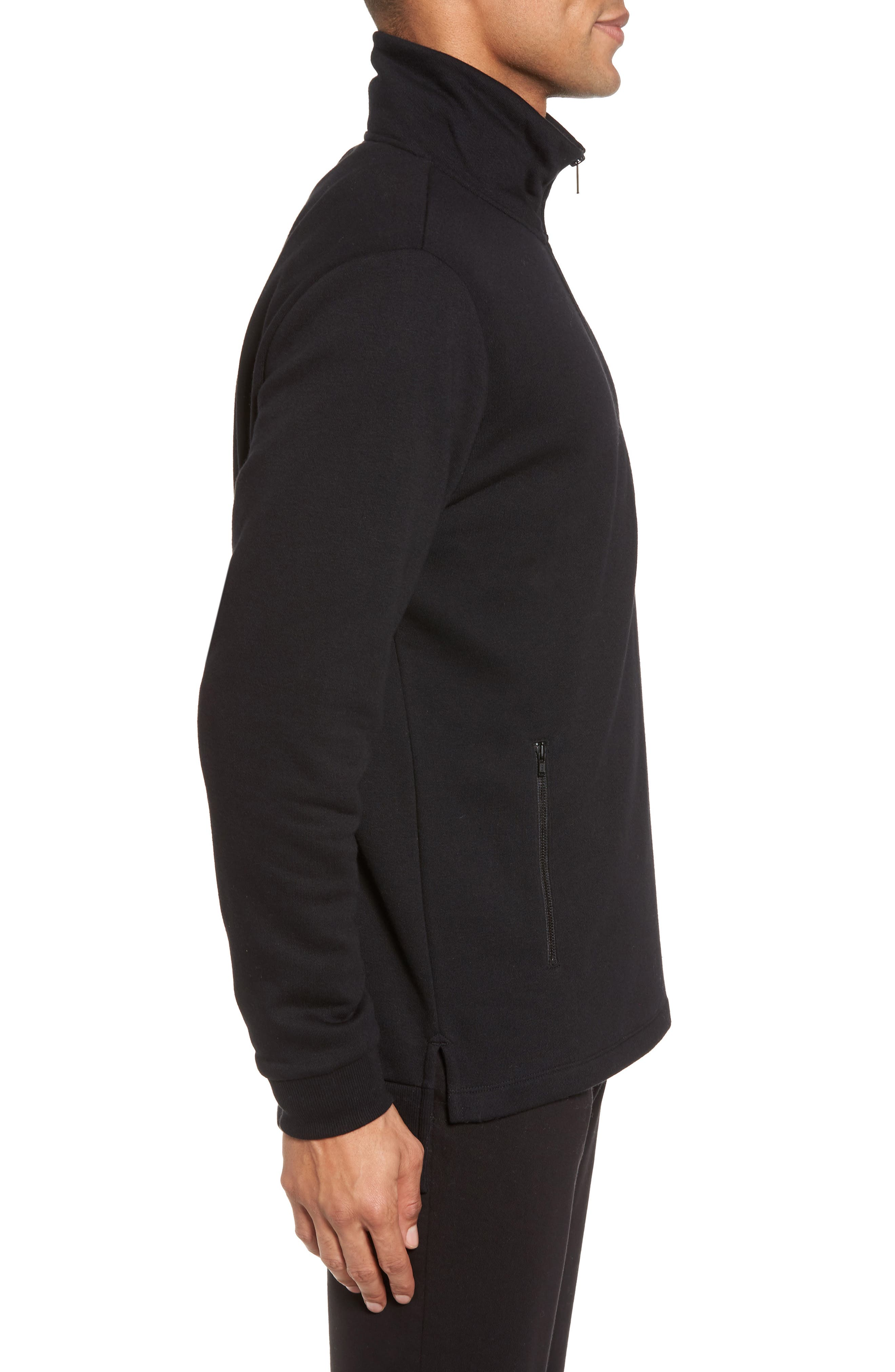 Quarter Zip Fleece Pullover,                             Alternate thumbnail 3, color,                             Black