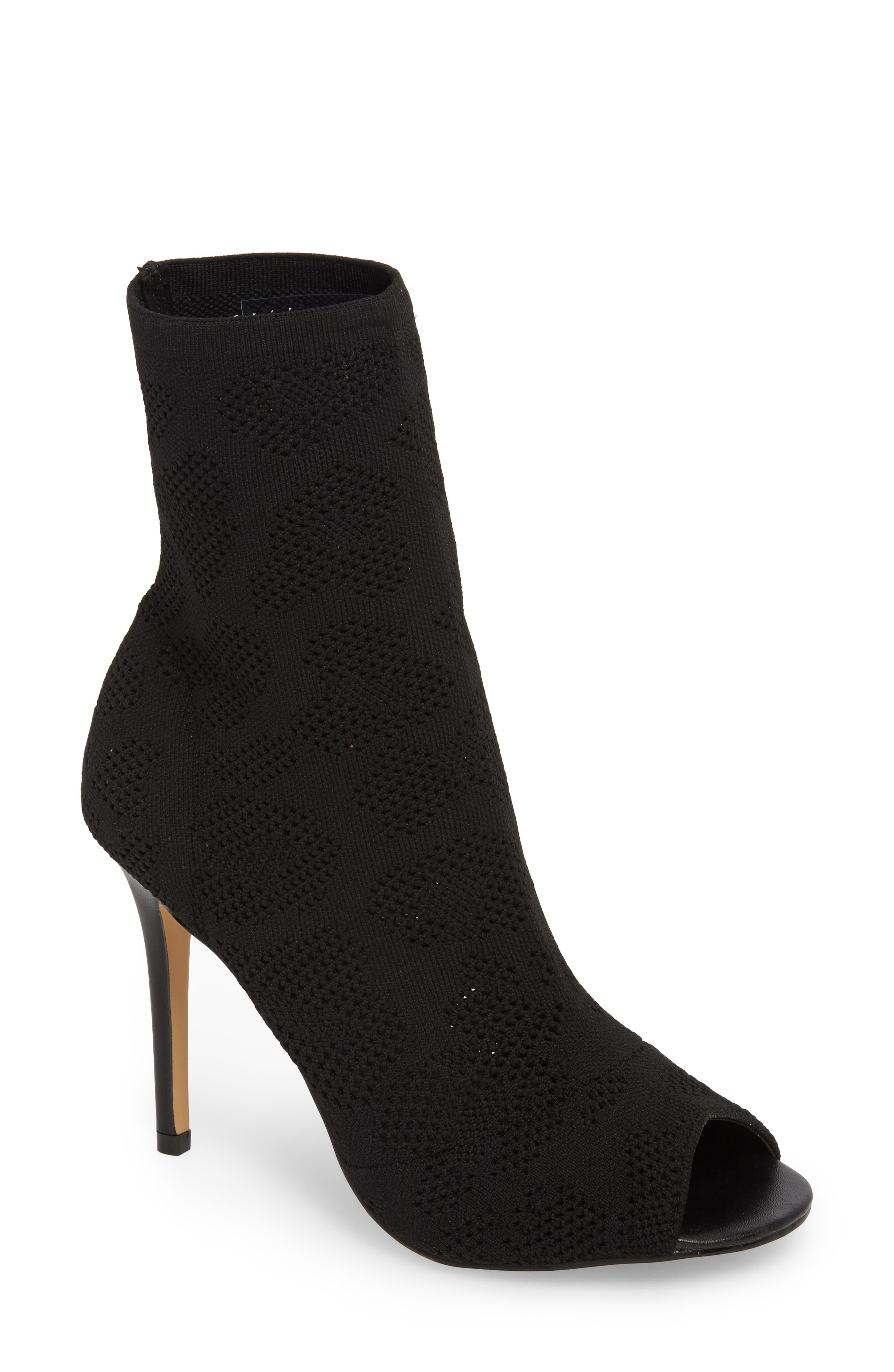 Ranger Sock Knit Open Toe Bootie,                             Main thumbnail 1, color,                             Black Stretch Fabric