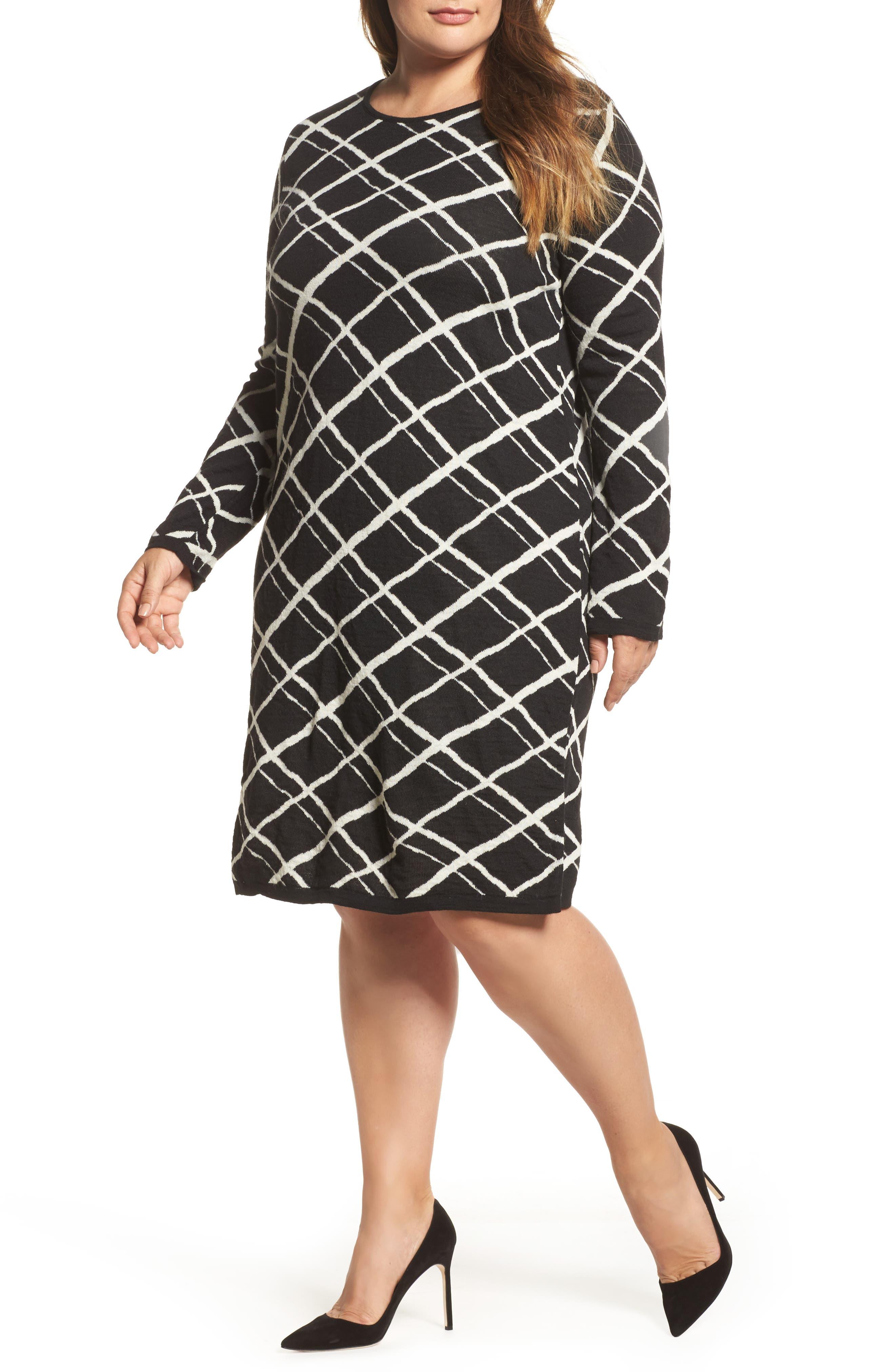Genesi Checkered Knit Dress,                         Main,                         color, Black/ White