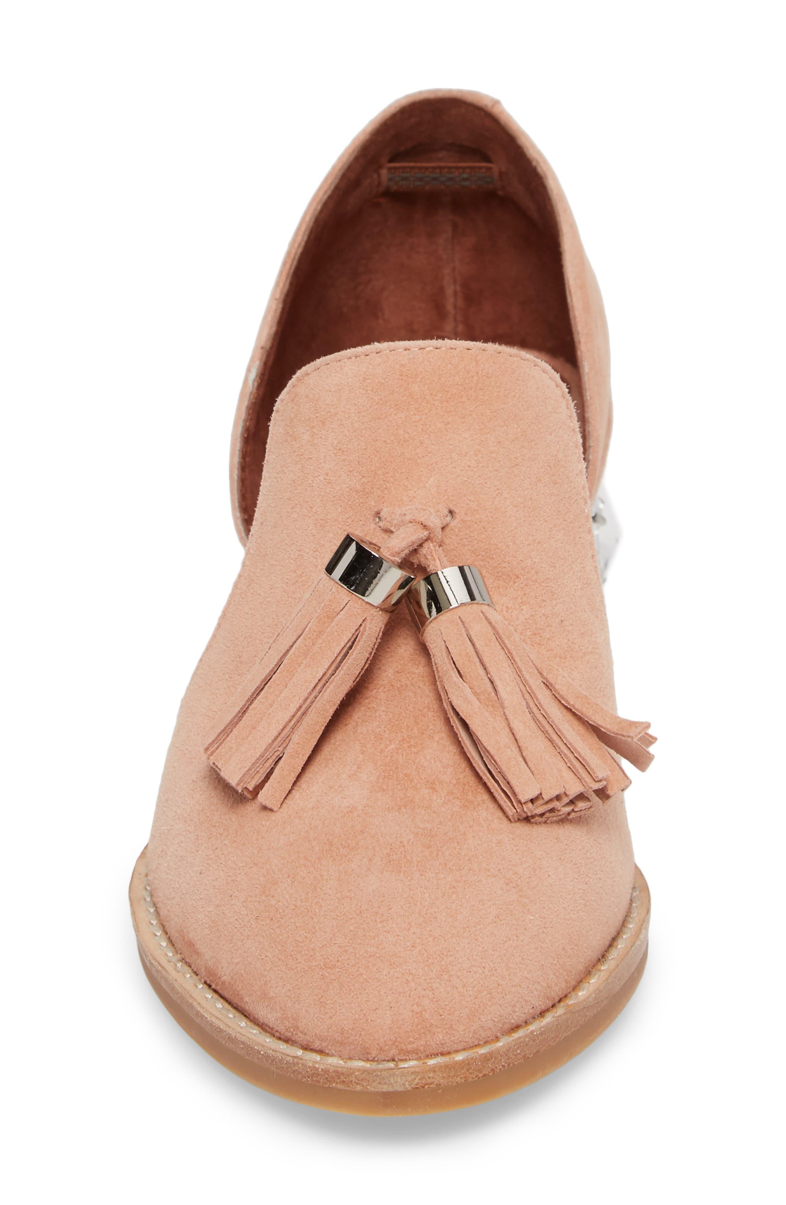 Civil Studded Loafer,                             Alternate thumbnail 4, color,                             Blush/ Silver Suede