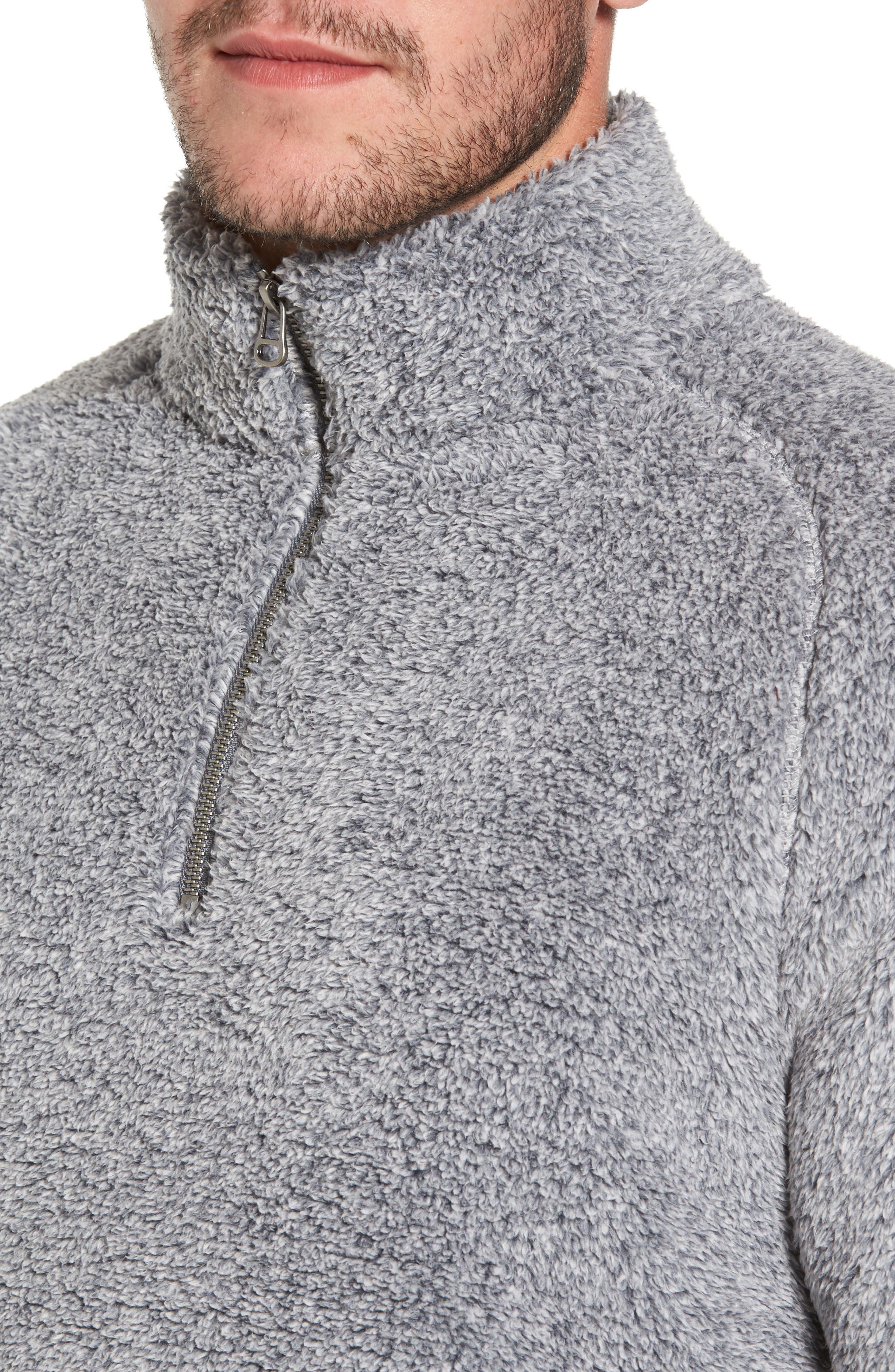 Polar Fleece Quarter Zip Pullover,                             Alternate thumbnail 4, color,                             Black Caviar Heather