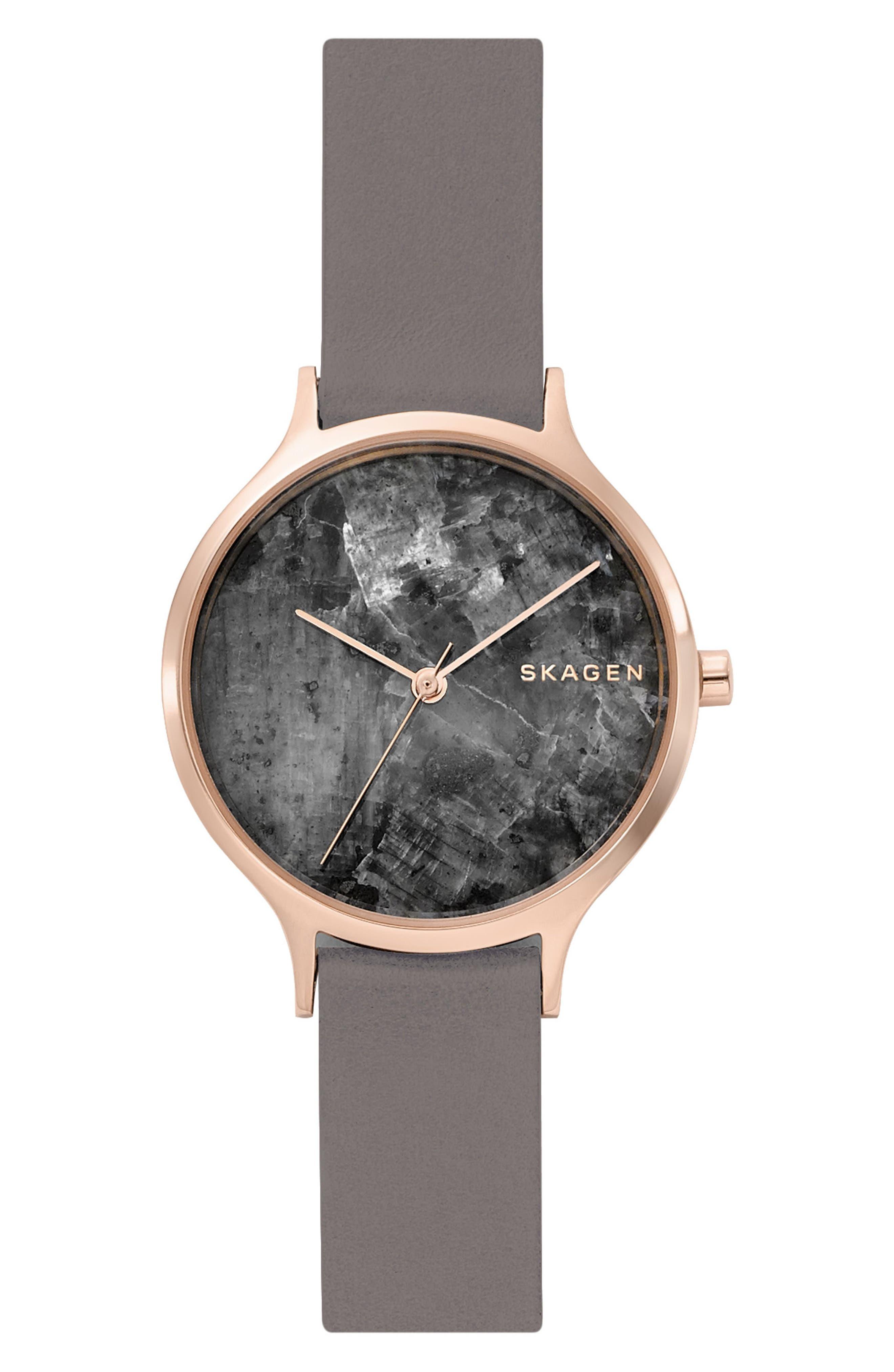 Main Image - Skagen Anita Stone Dial Leather Strap Watch, 34mm