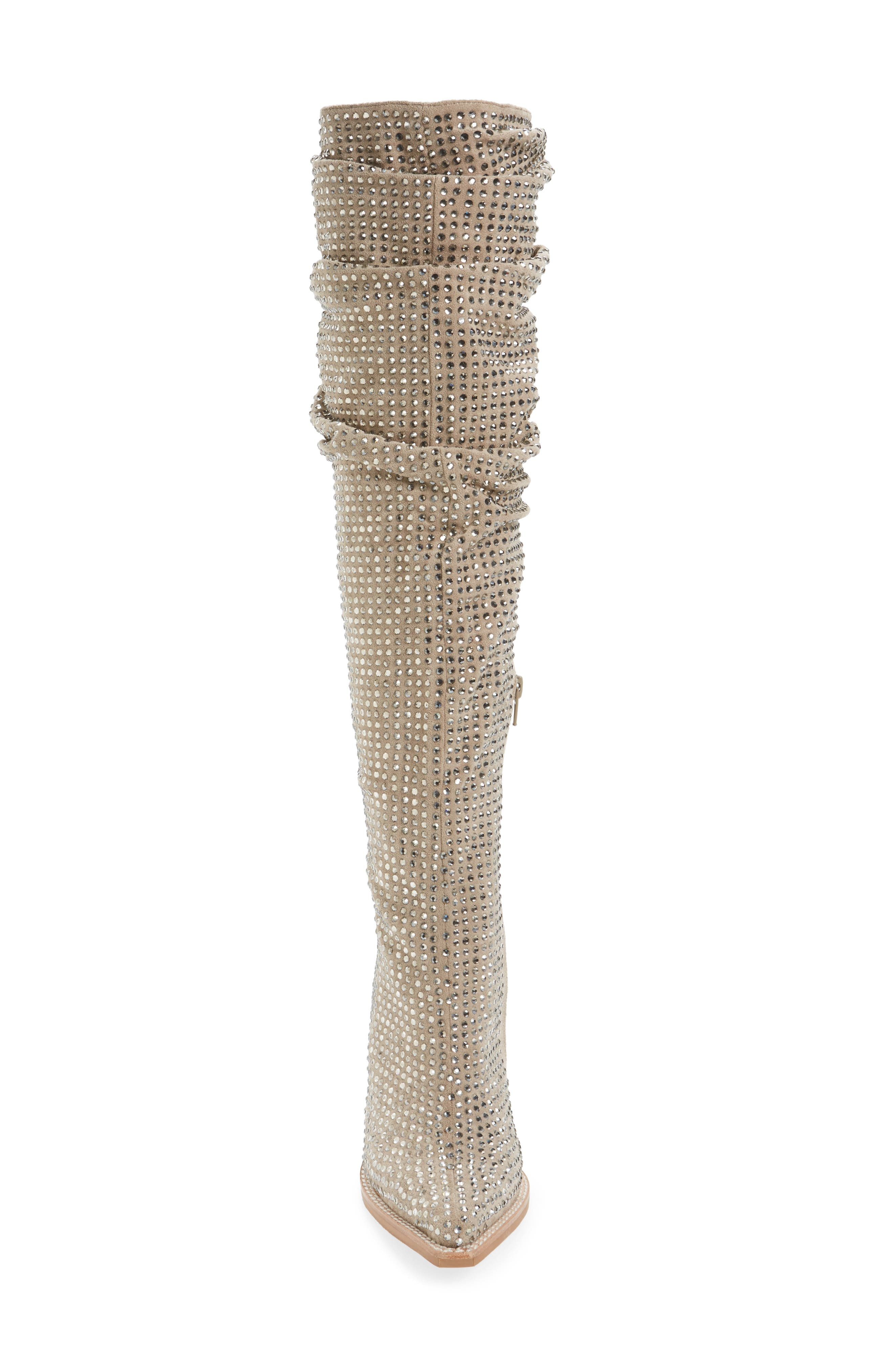 Controlla Slouch Over the Knee Boot,                             Alternate thumbnail 4, color,                             Taupe/ Silver Faux Suede