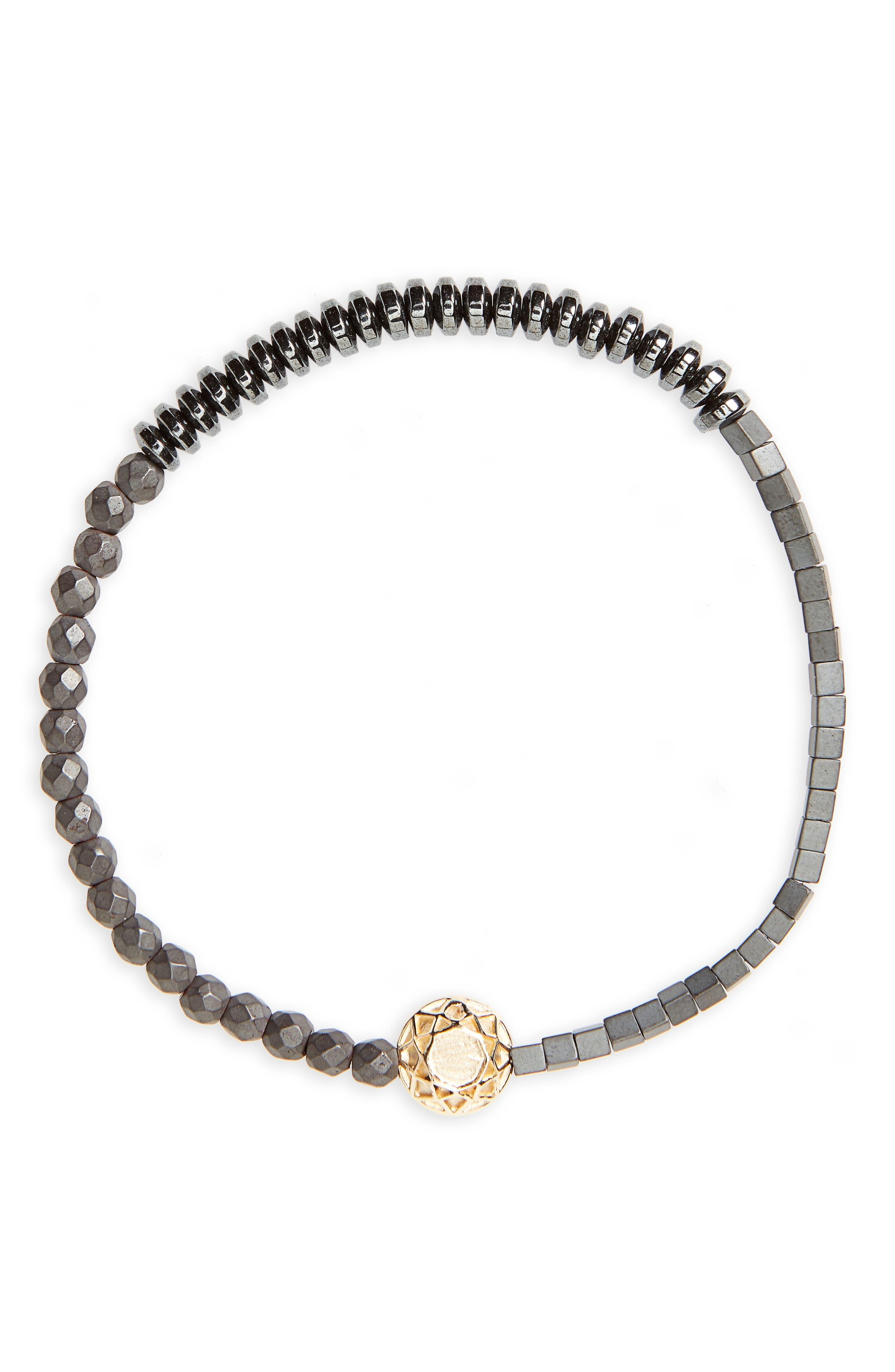 Gold Faceted Mantra Stretch Bracelet,                         Main,                         color, Plain / Hematite Mix