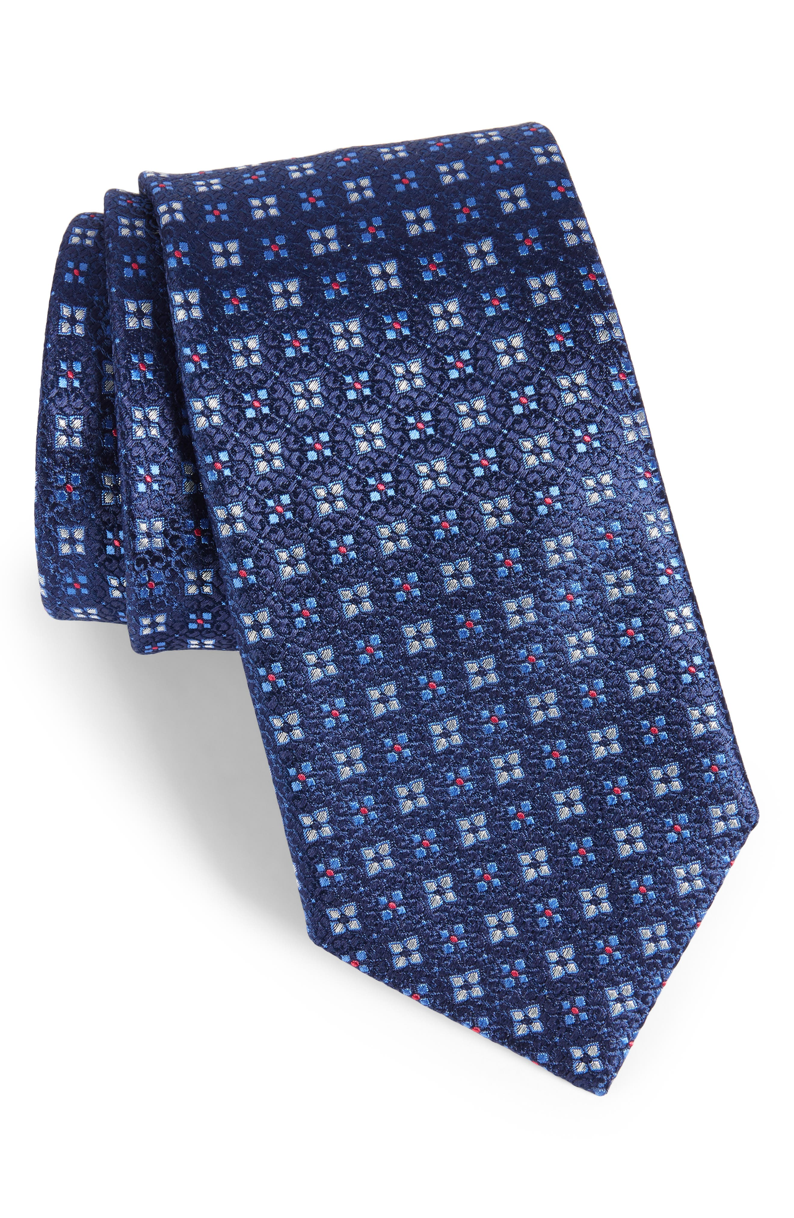 Geometric Silk Tie,                         Main,                         color, Navy