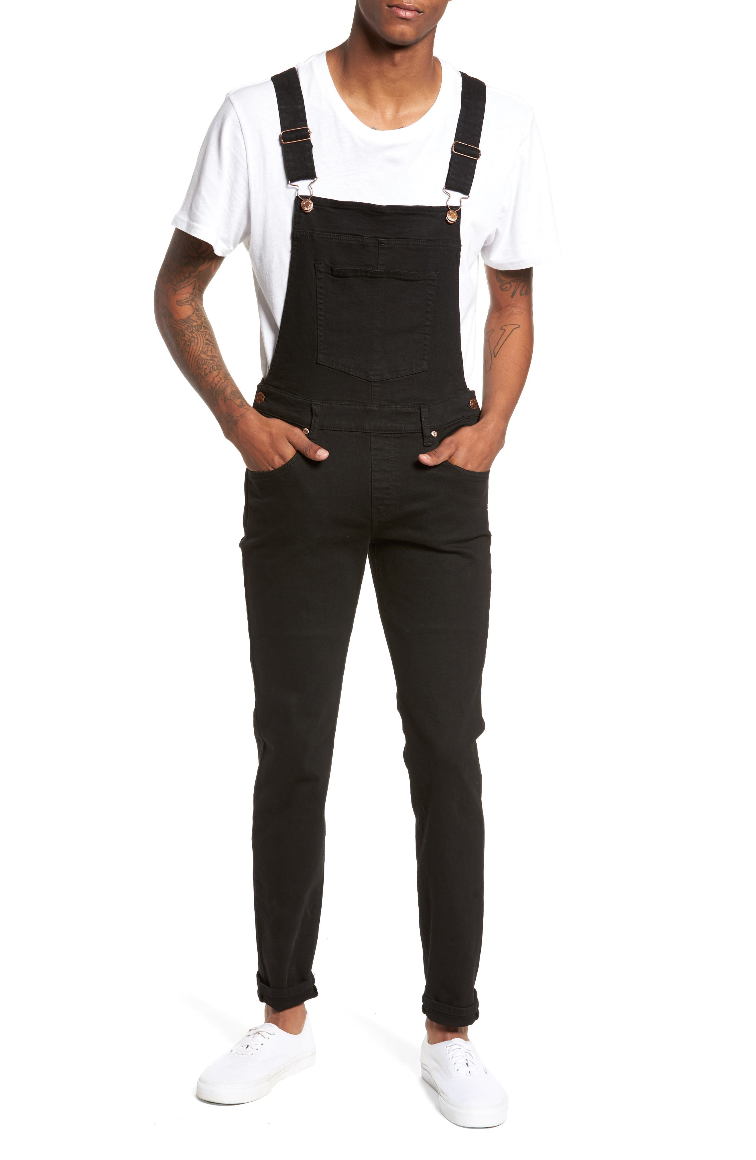 Ira Skinny Fit Overalls,                             Main thumbnail 1, color,                             Black