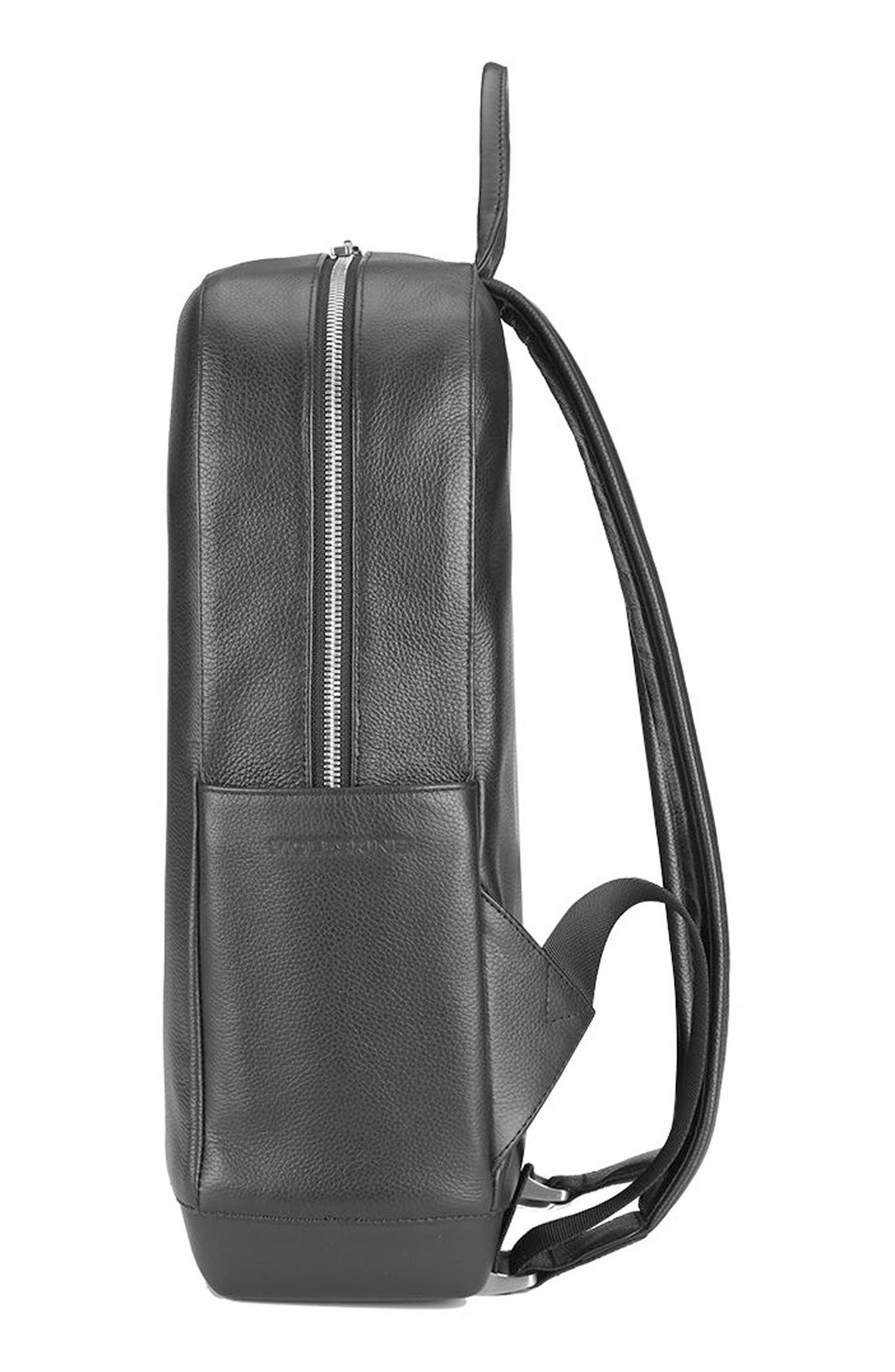 Classic Leather Backpack,                             Alternate thumbnail 3, color,                             Black