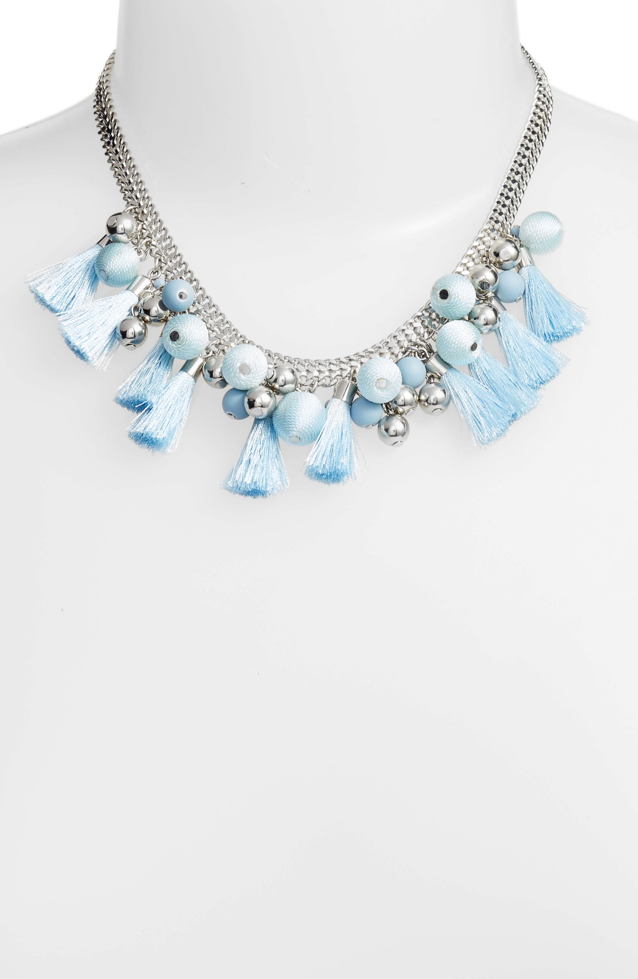 Bauble & Tassel Collar Necklace,                             Alternate thumbnail 2, color,                             Blue/ Silver