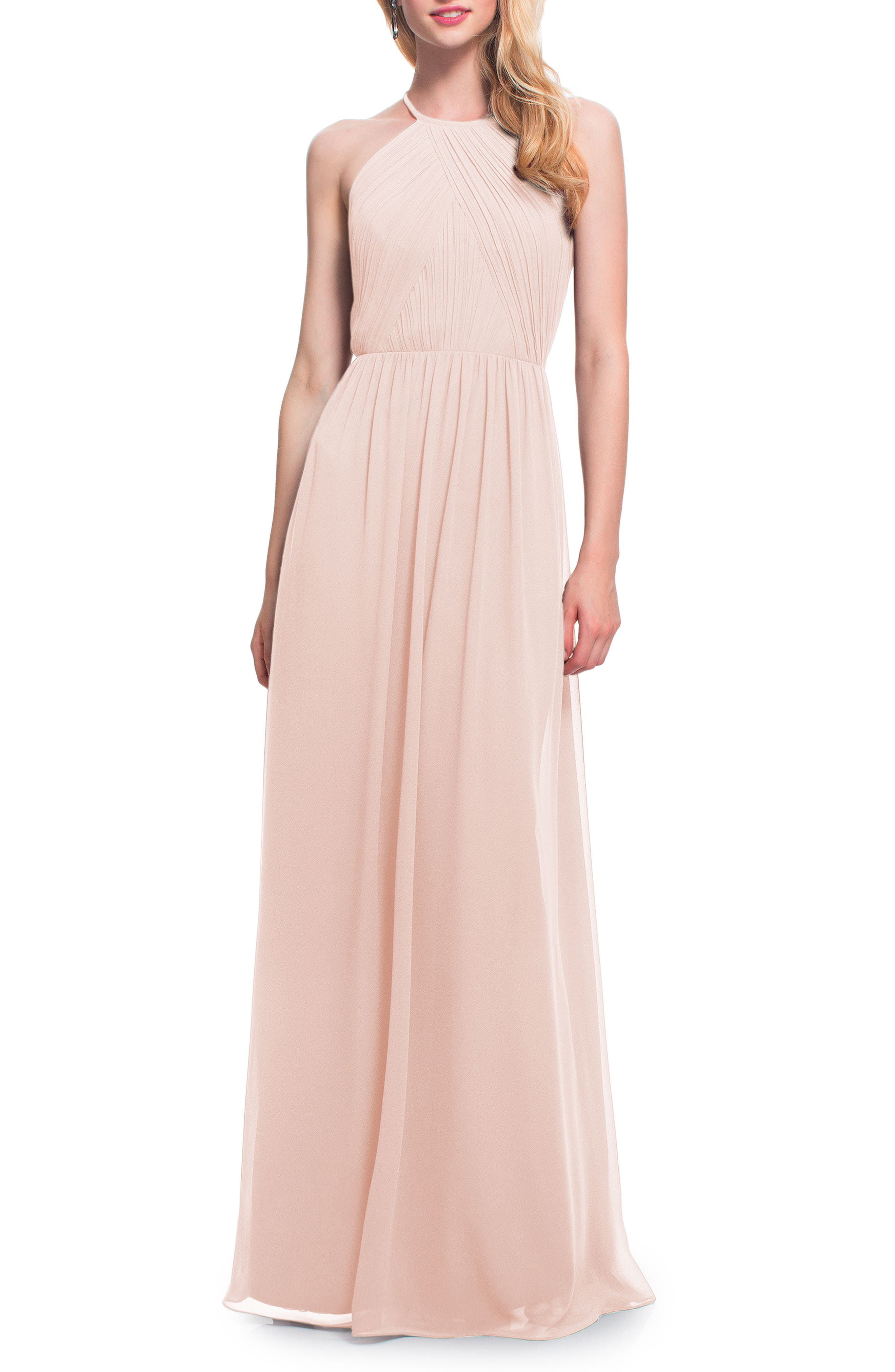 Main Image - #Levkoff Open Back Halter Neck Chiffon Gown