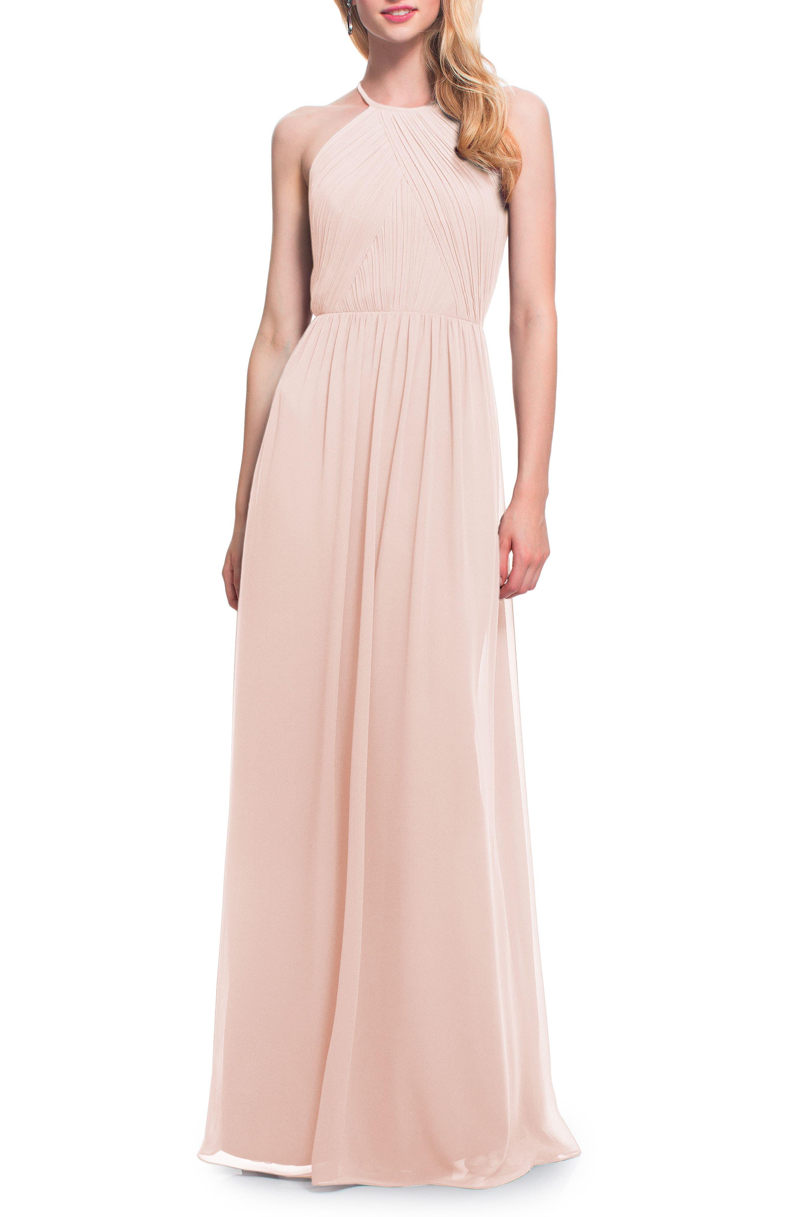 Open Back Halter Neck Chiffon Gown,                         Main,                         color, Petal Pink