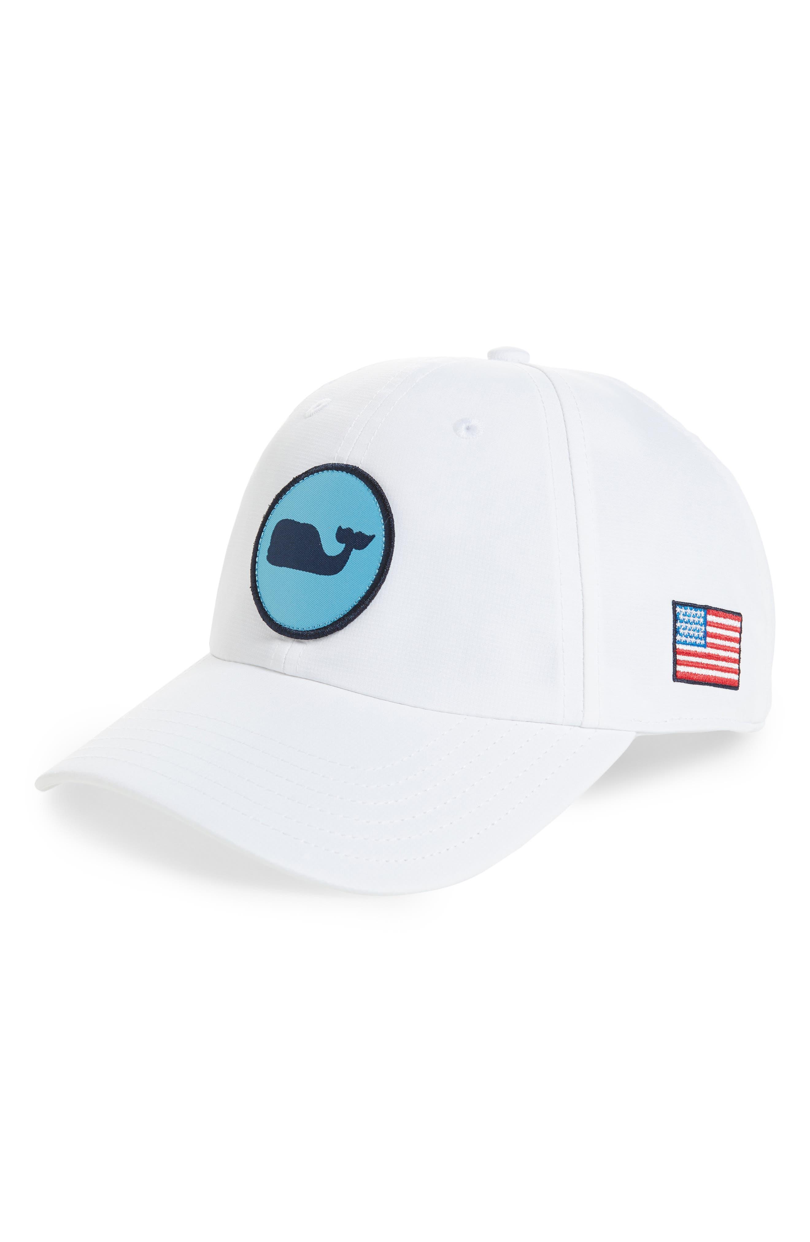Perf Classic Woven Whale Ball Cap,                             Main thumbnail 1, color,                             White Cap