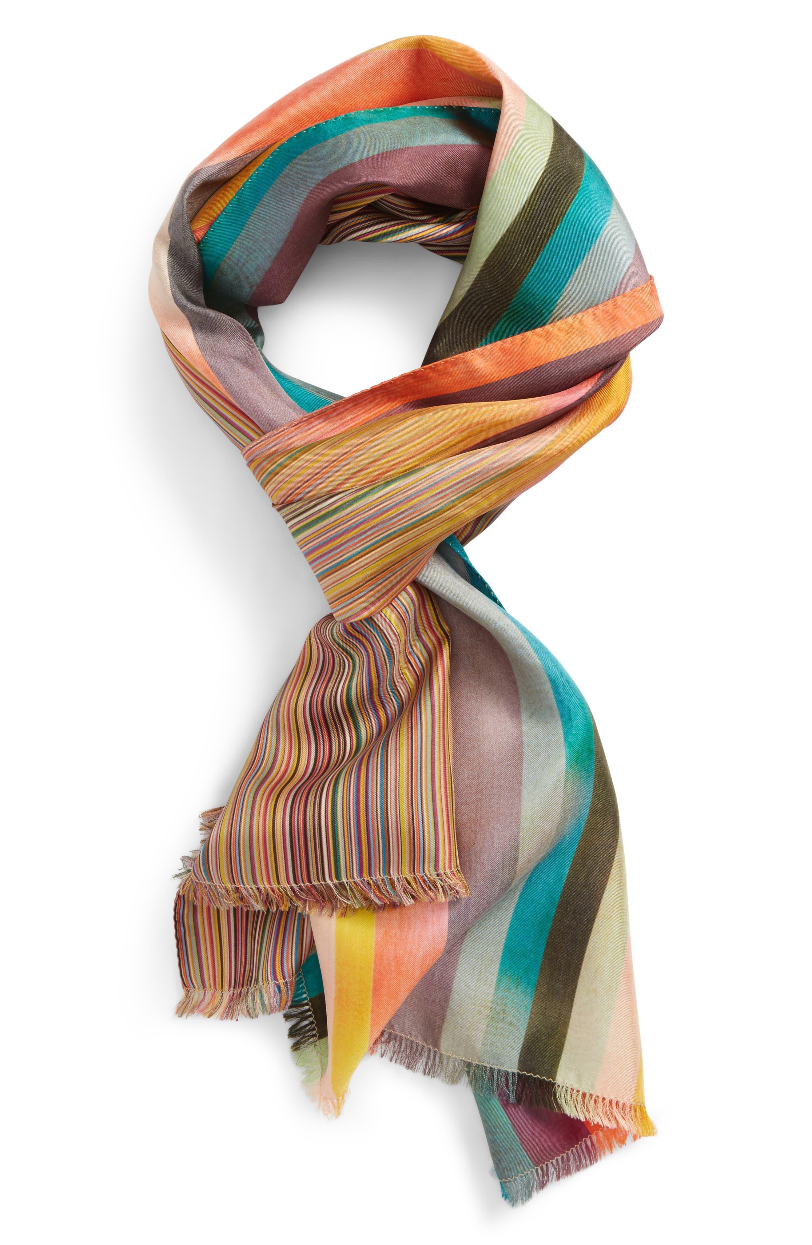 Multistripe Clash Silk Scarf,                             Main thumbnail 1, color,                             Pink Multi