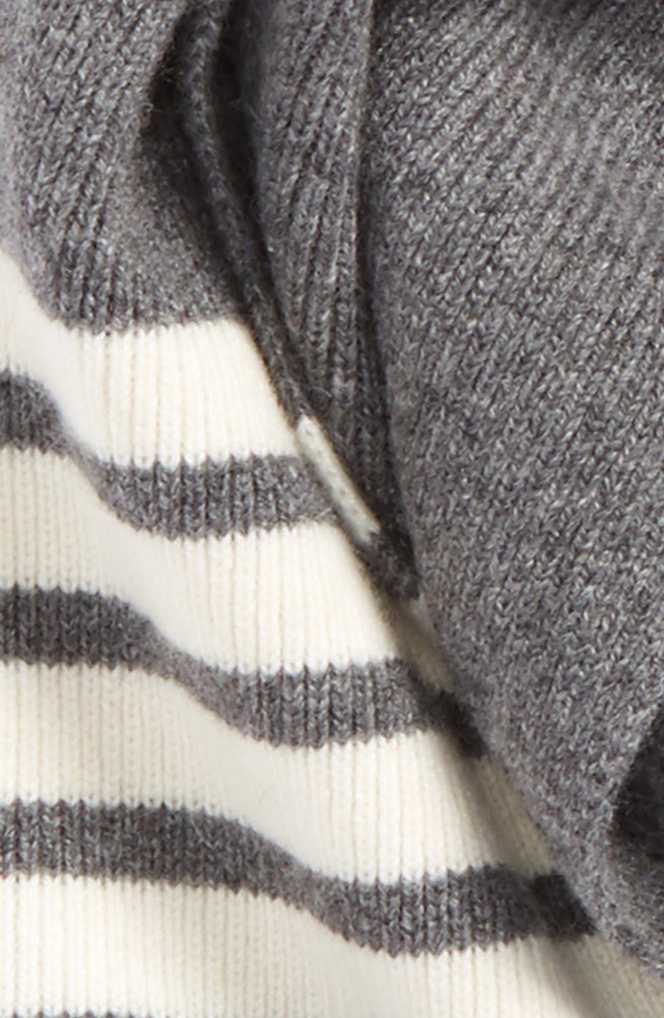 Rib Cashmere Scarf,                             Alternate thumbnail 3, color,                             Med Grey
