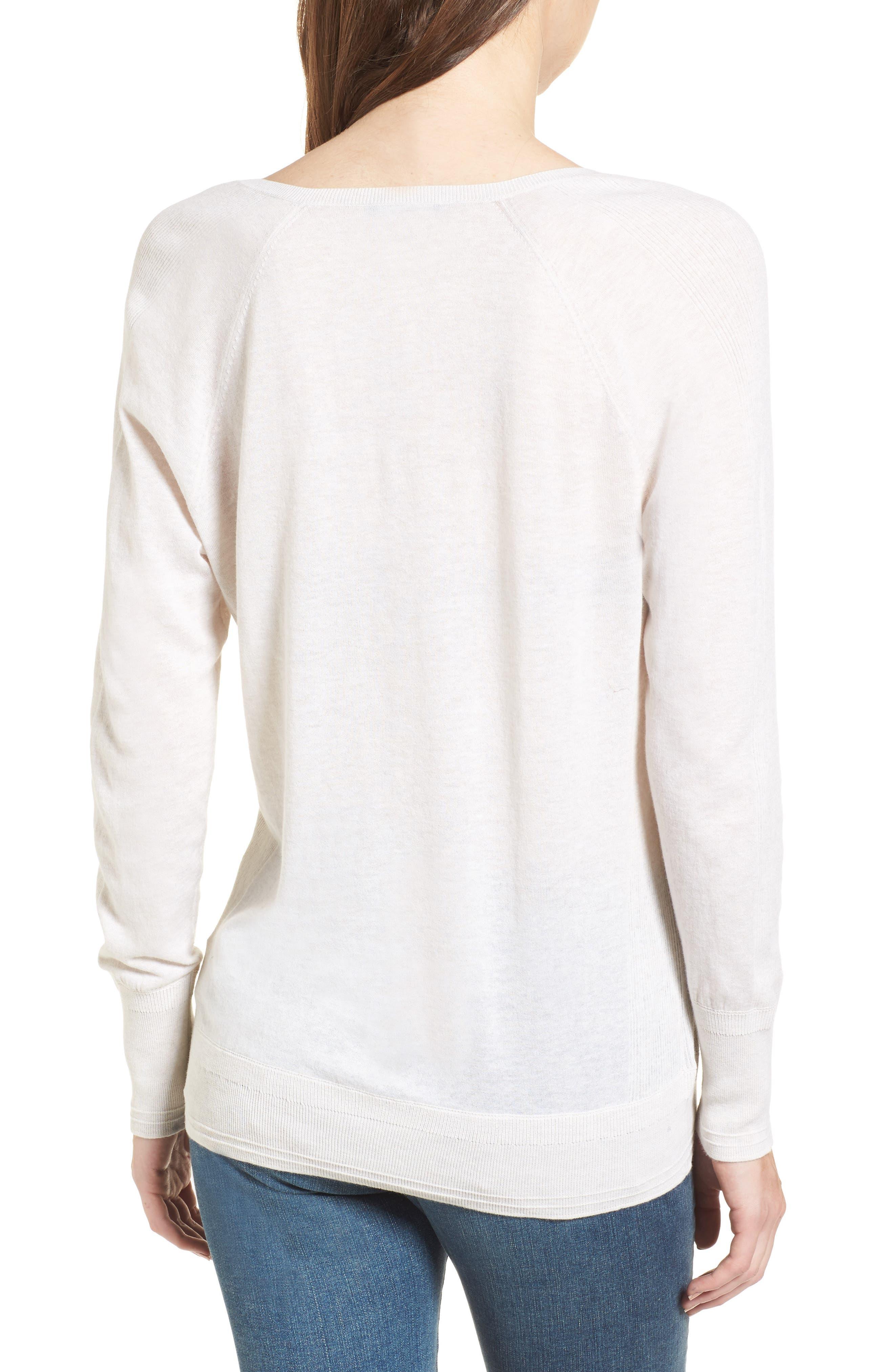 Deep V-Neck Sweater,                             Alternate thumbnail 2, color,                             Heather Cream