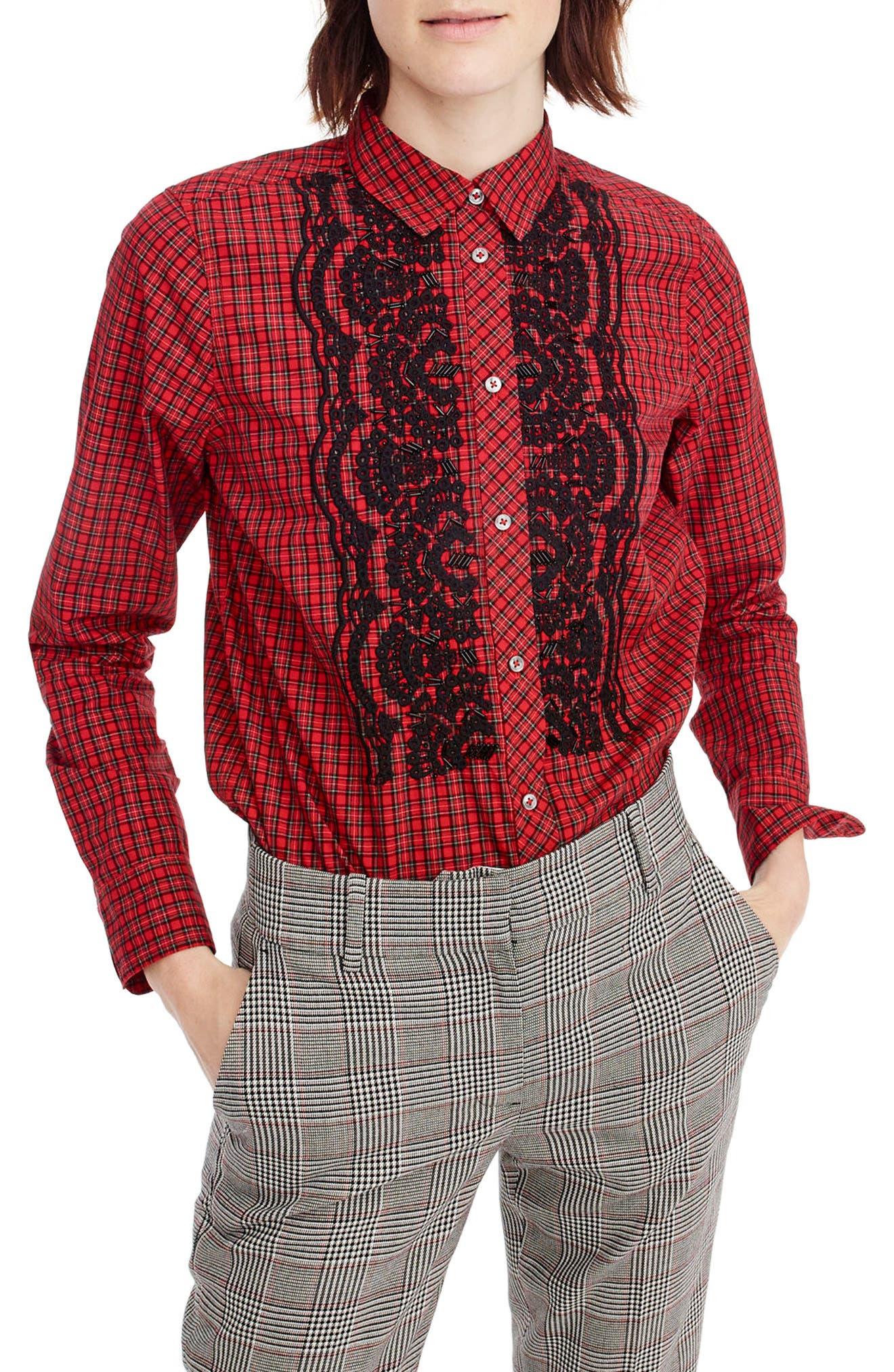 Main Image - J.Crew Embellished Plaid Boy Shirt (Regular & Petite)